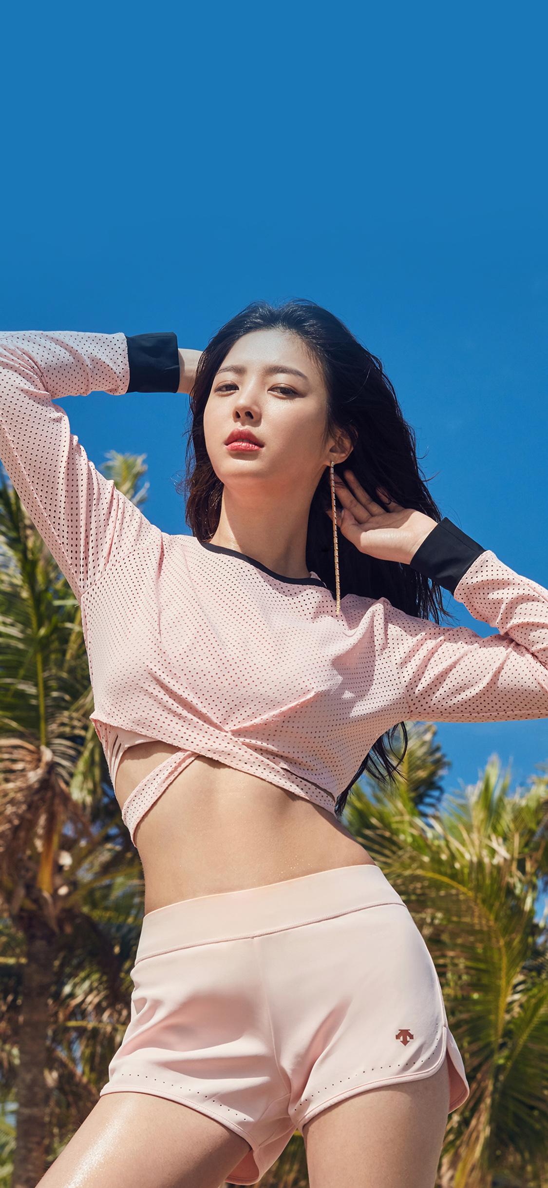 Hn00 Asian Kpop Girl Summer Tree Beach