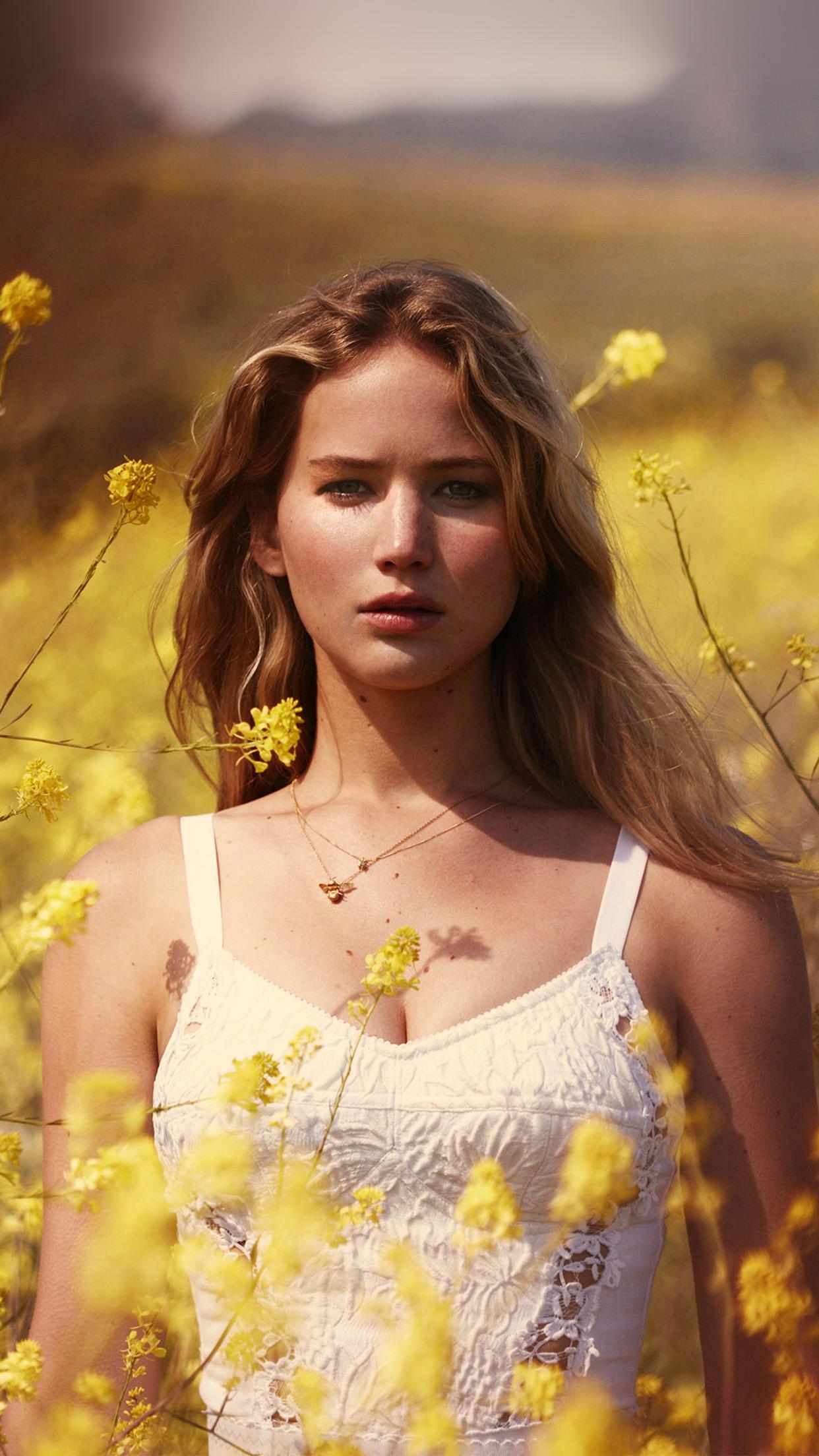 Hp47 Jennifer Lawrence Flower Spring Girl Celebrity Wallpaper