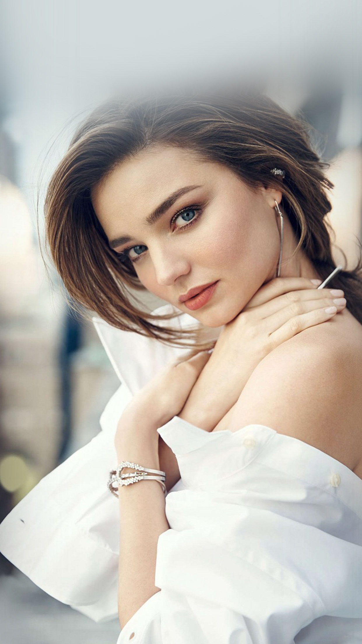 Hq20 Miranda Kerr Girl Dress White Beauty Wallpaper