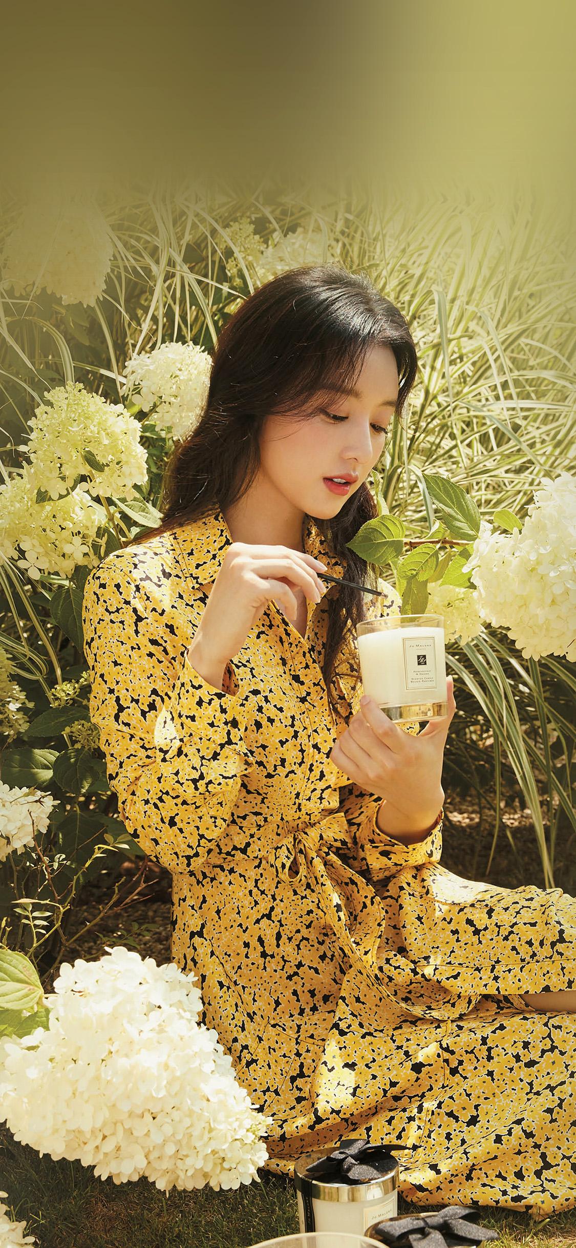 iPhonexpapers.com-Apple-iPhone-wallpaper-hr16-kpop-girl-yellow-spring-flower-jiwon