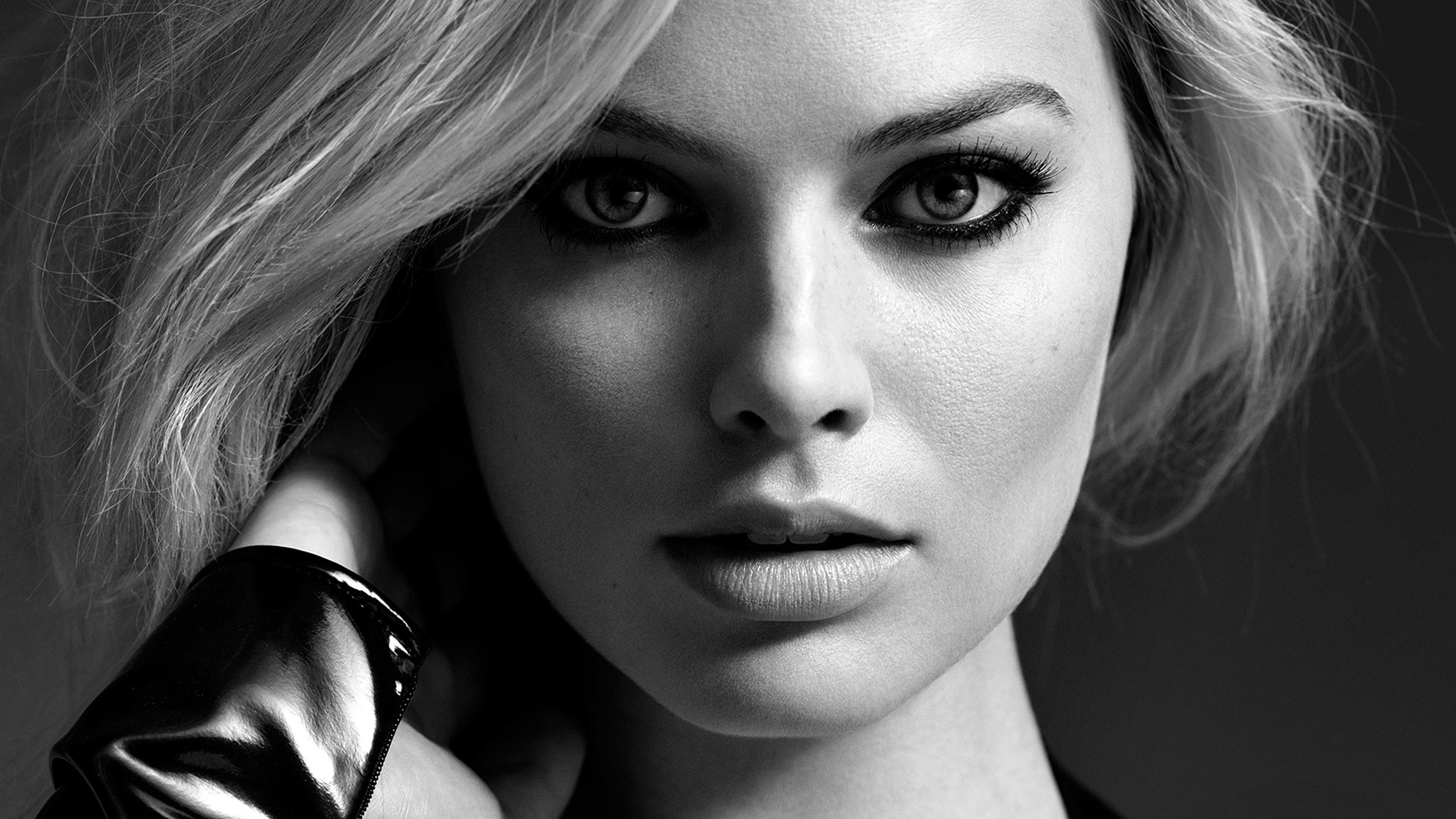 Hr76 Girl Face Margot Robbie Face Bw Dark Wallpaper