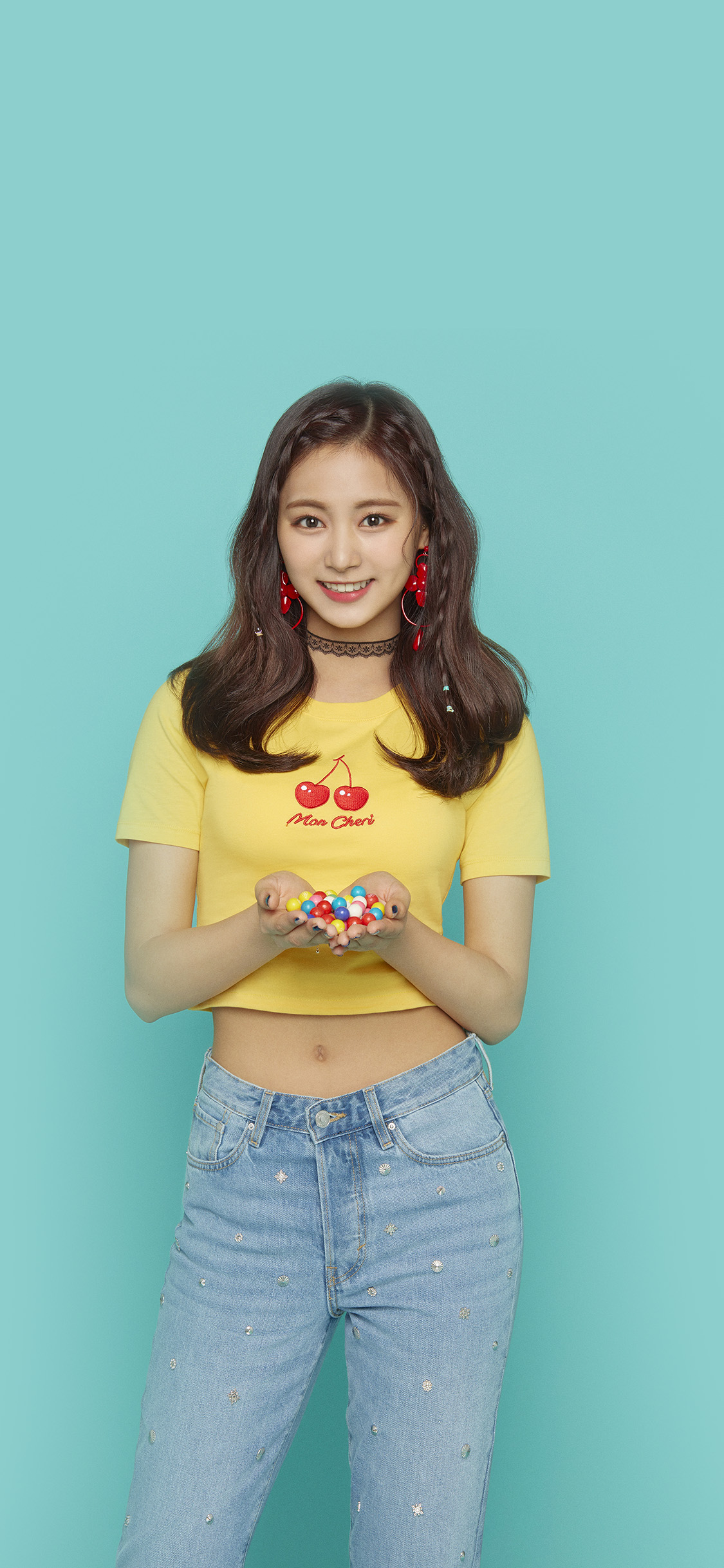 iPhonexpapers.com-Apple-iPhone-wallpaper-hs19-kpop-girl-blue-candy-twice-smile
