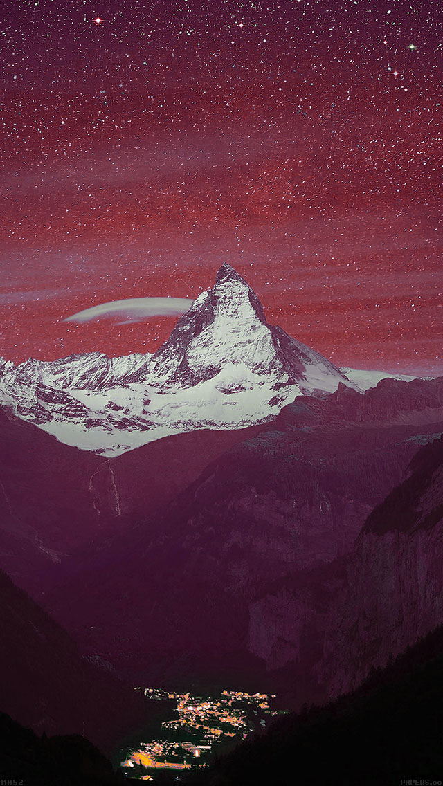 freeios8.com-iphone-4-5-6-ipad-ios8-ma52-purple-night-mountain-sky-nature