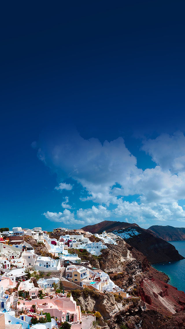 freeios8.com-iphone-4-5-6-ipad-ios8-ma62-santorini-sunny-day-greece-sea-nature
