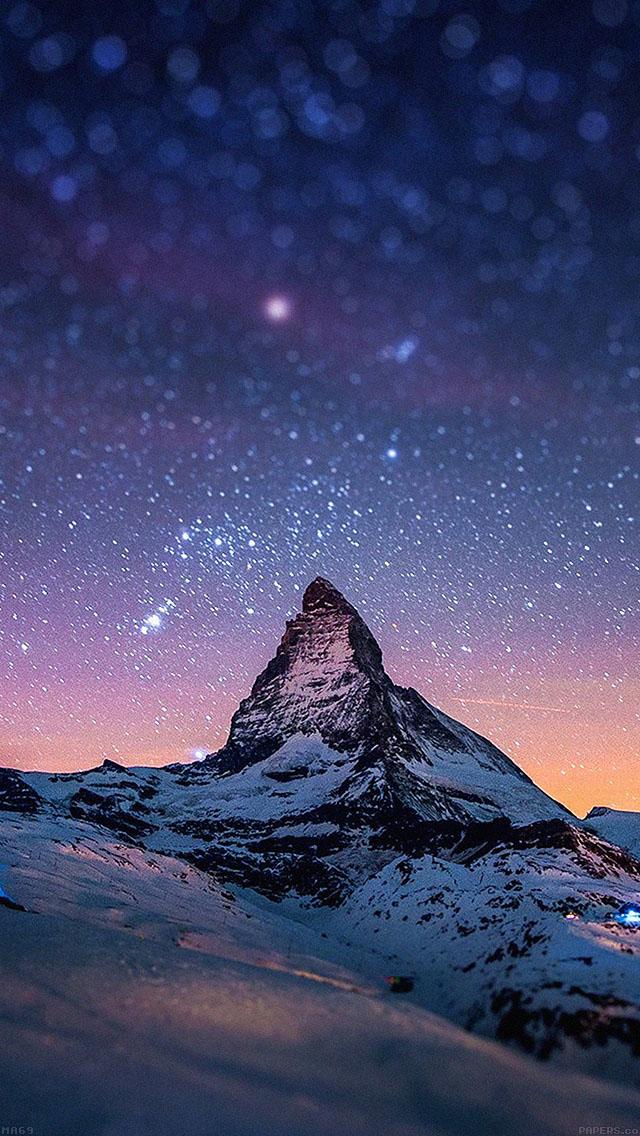 freeios8.com-iphone-4-5-6-ipad-ios8-ma69-night-stars-over-moutain-nature