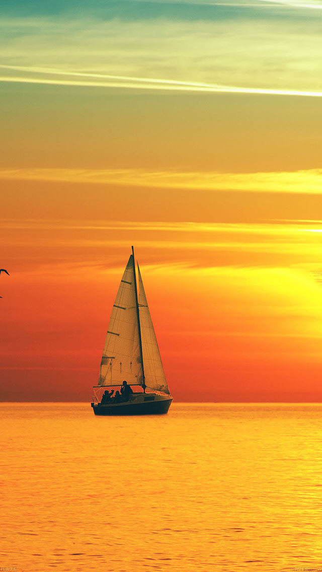 freeios8.com-iphone-4-5-6-ipad-ios8-ma76-boat-at-sunset-sea-nature