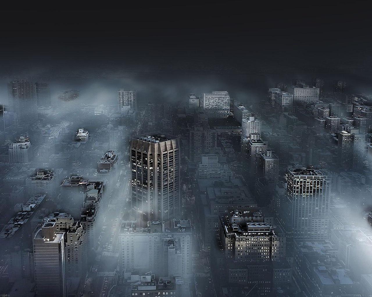 Ma80 Dark City In Fog Nature Wallpaper