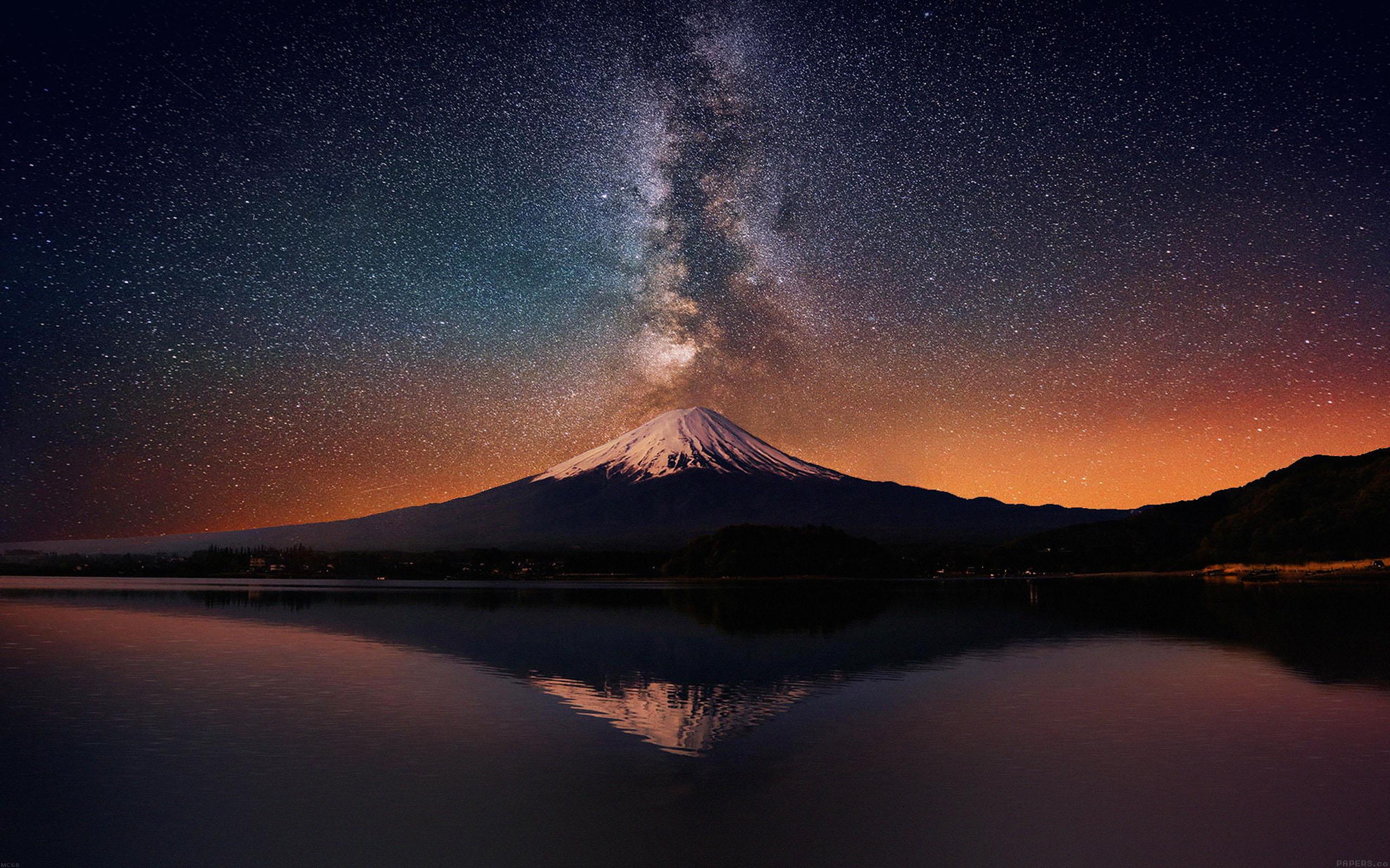 Mc68 Wallpaper Milky Way On Mountain Fuji Sky Wallpaper