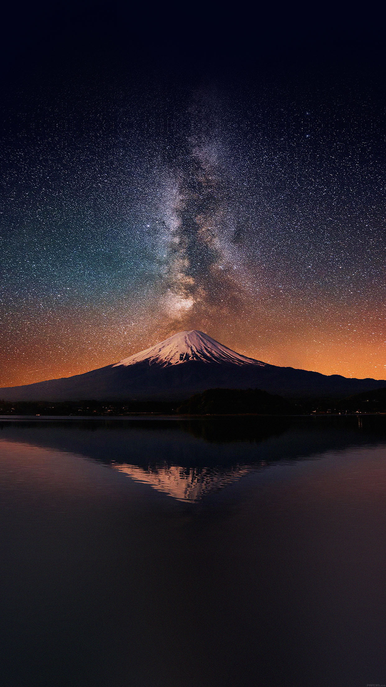 iPhone6papers mc68 wallpaper milky way on mountain fuji sky