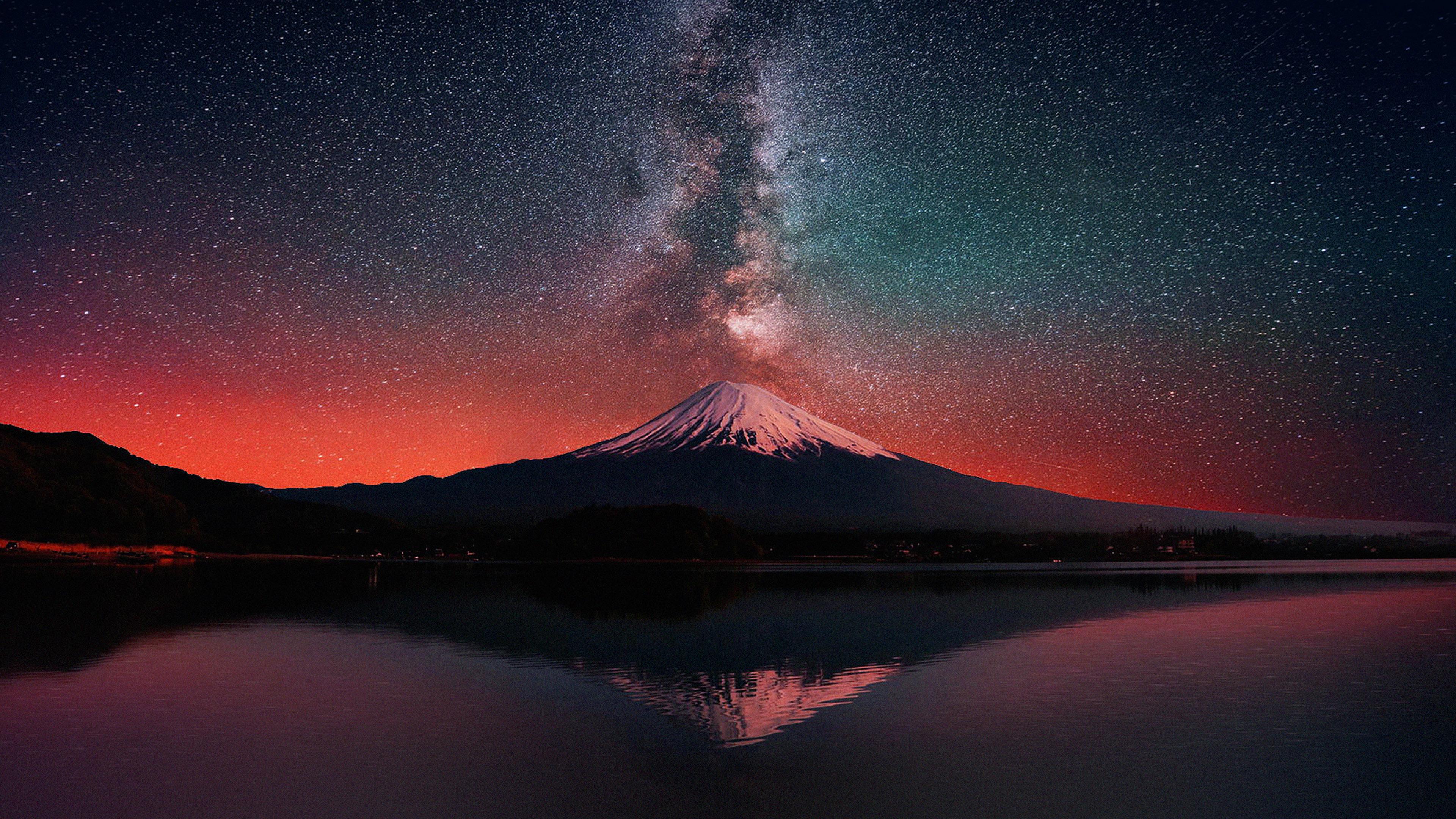 Papers Co Mc Wallpaper Milky Way On Dark Mountain Fuji Sky X K Wallpaper