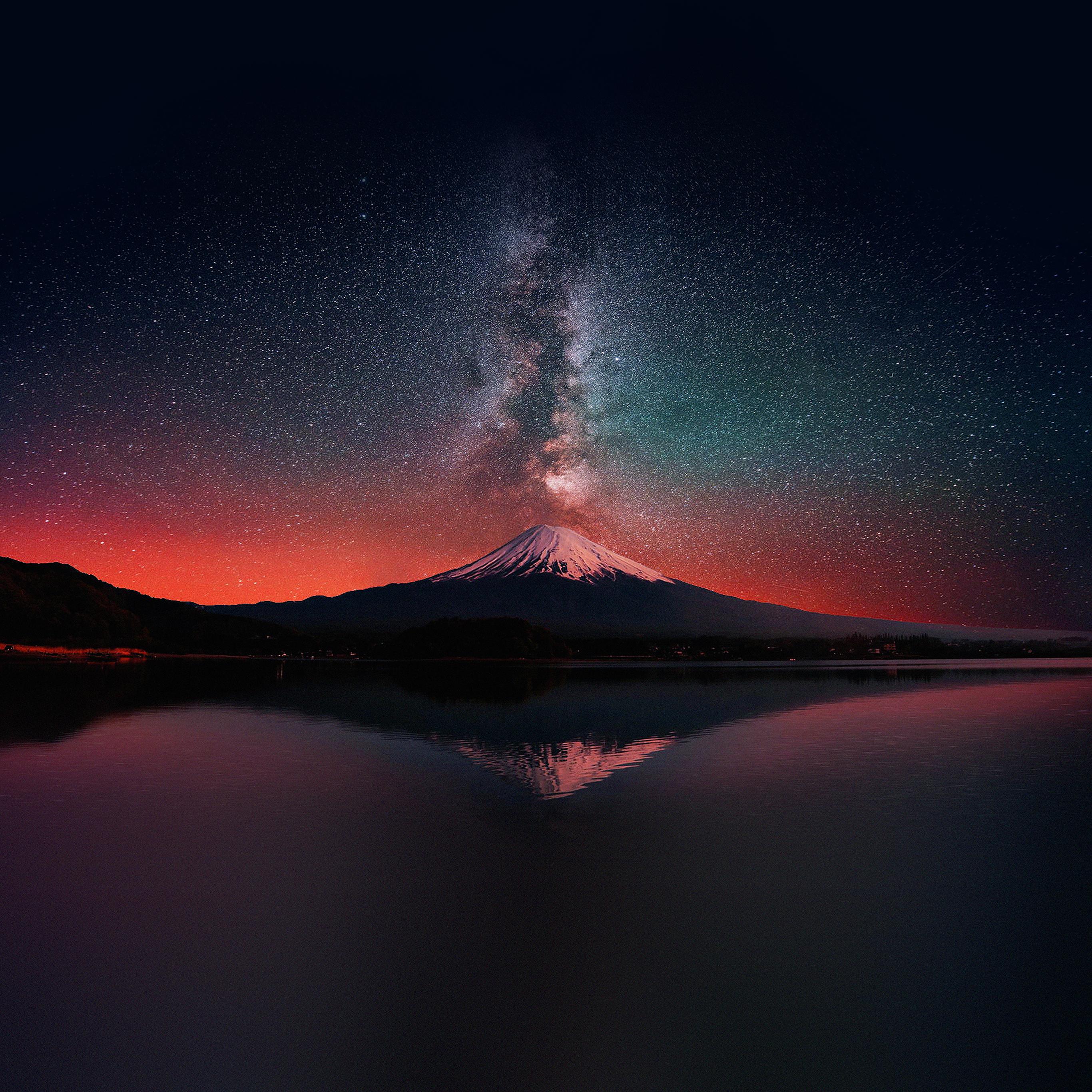 Milky Way Wallpaper: Mc69-wallpaper-milky-way-on-dark-mountain-fuji-sky