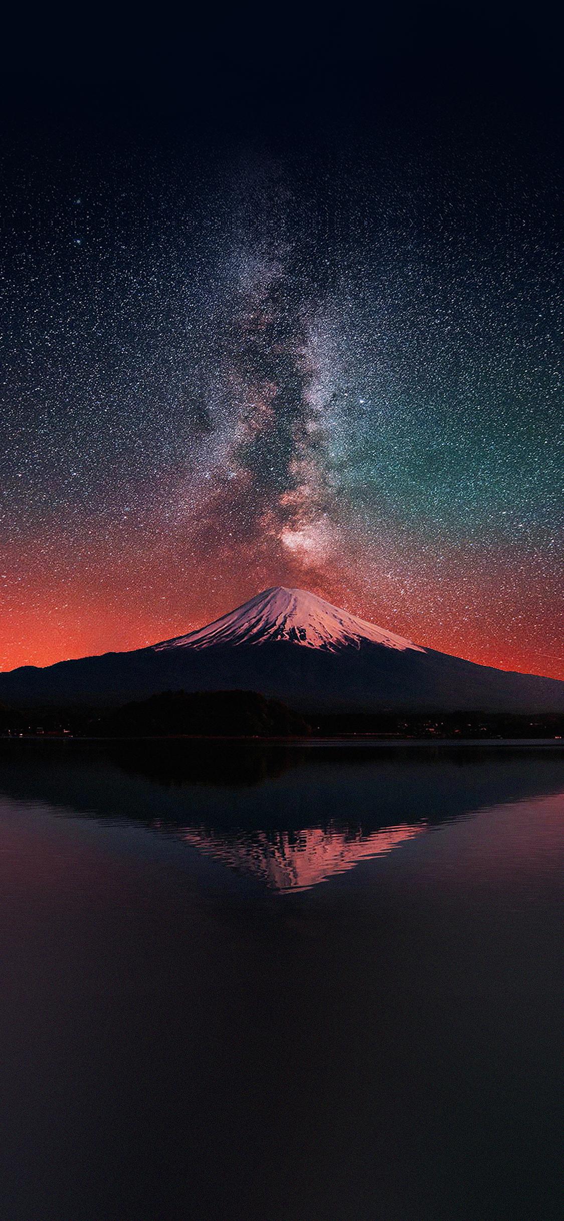 Mc69 Wallpaper Milky Way On Dark Mountain Fuji Sky