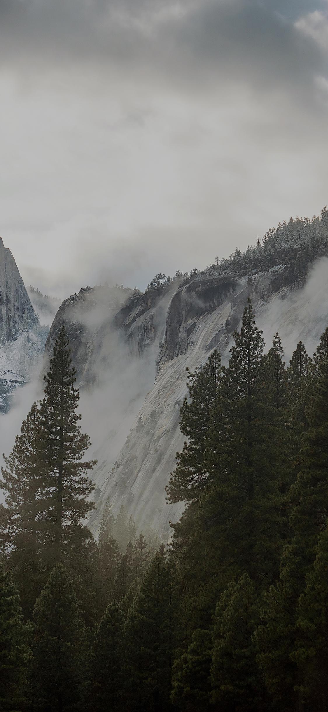 Me59 Yosemite Snow Dark Mountain Nature Wallpaper