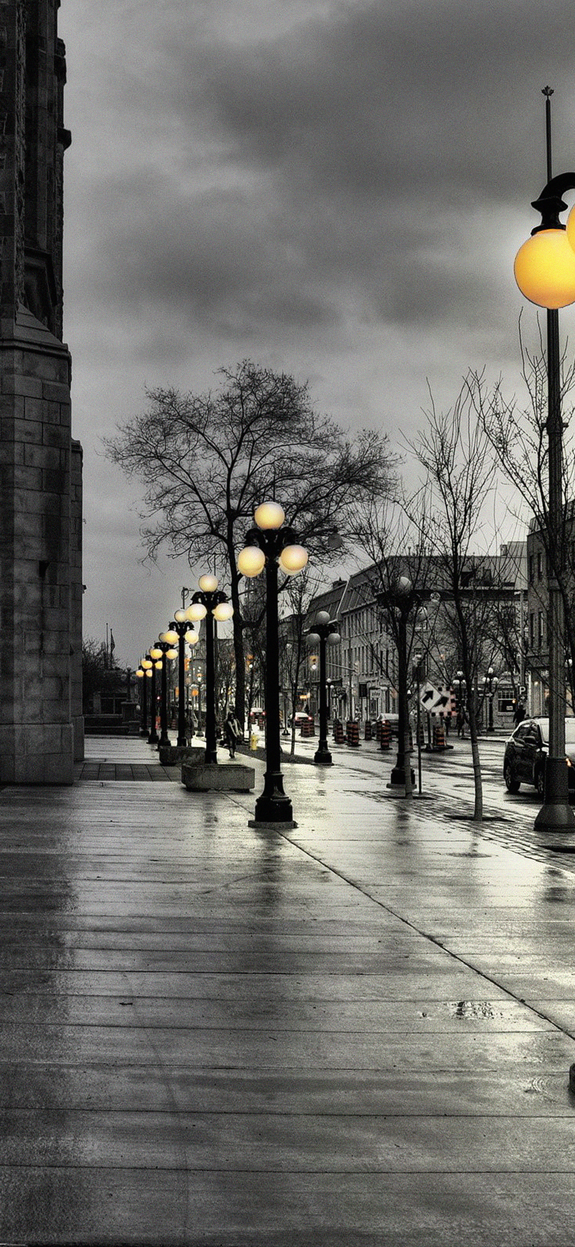 Iphonexpapers Me77 Dark Street With Lamps
