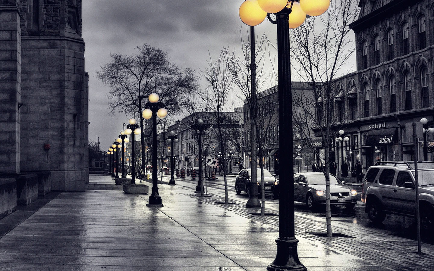 Me78 Dark Blue Street With Lamps Papers Co