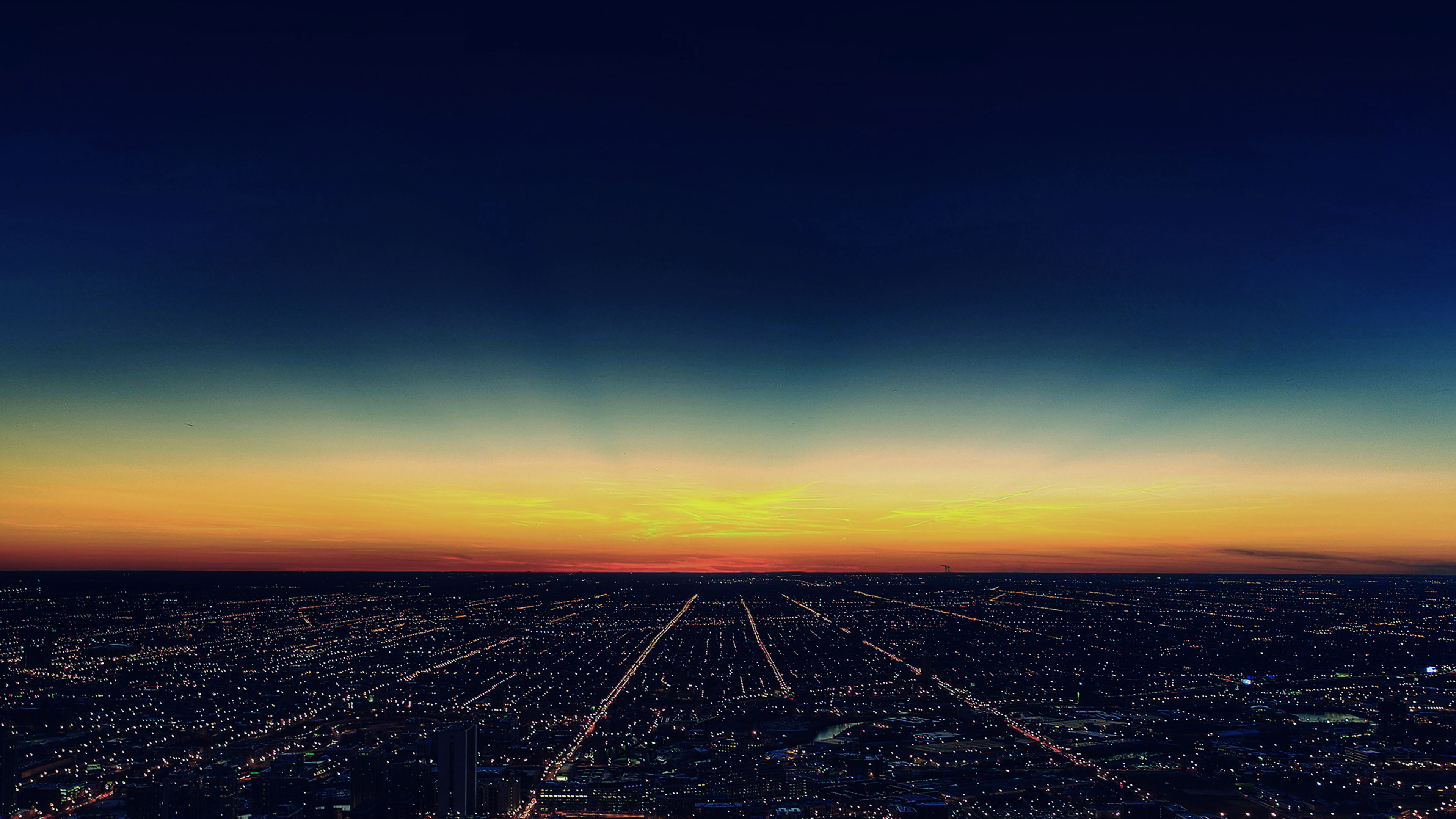 Mg31 Night Sky Flying Blue Sunset City Wallpaper