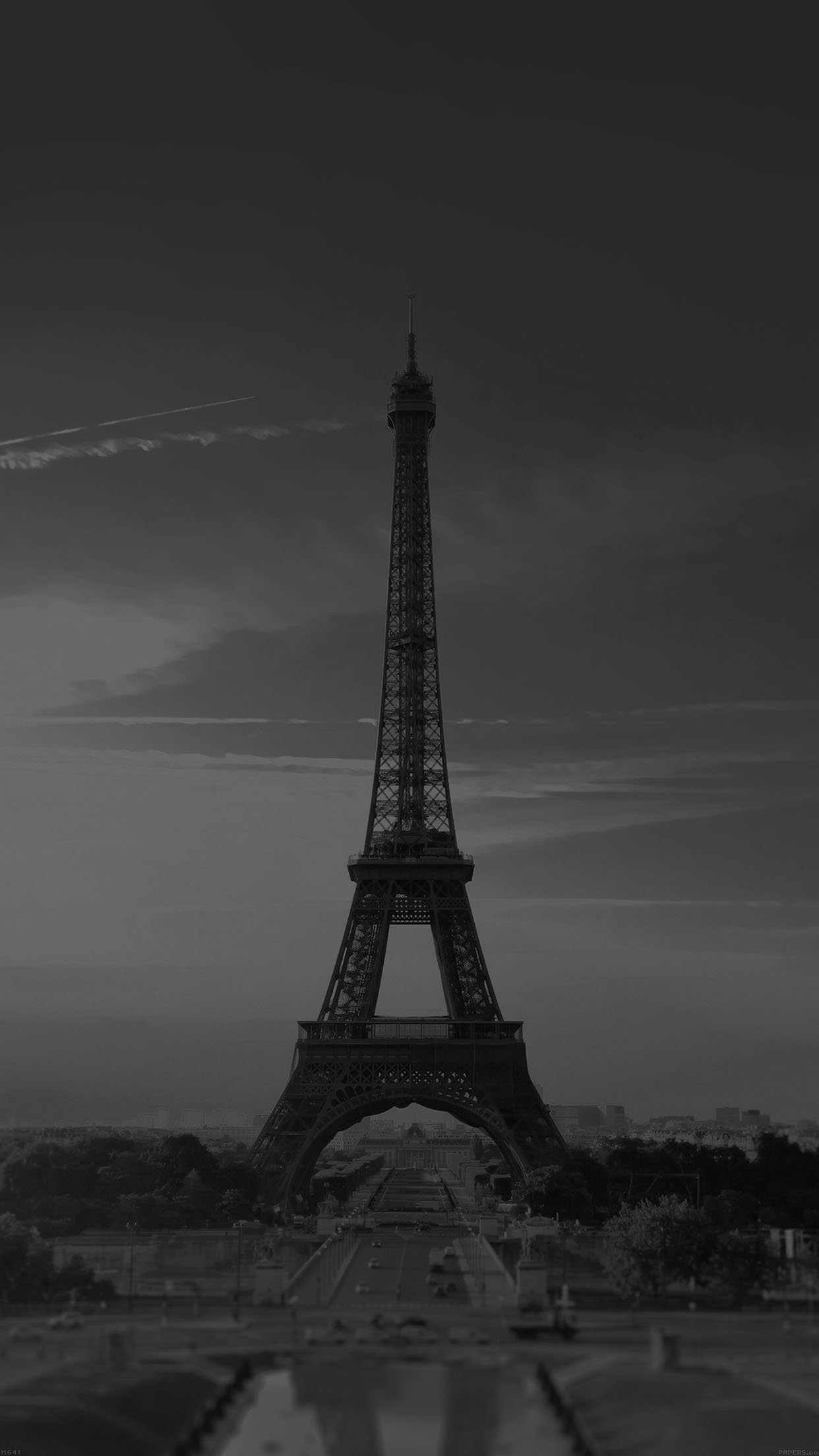Ipad for Eiffel tower wall mural black and white