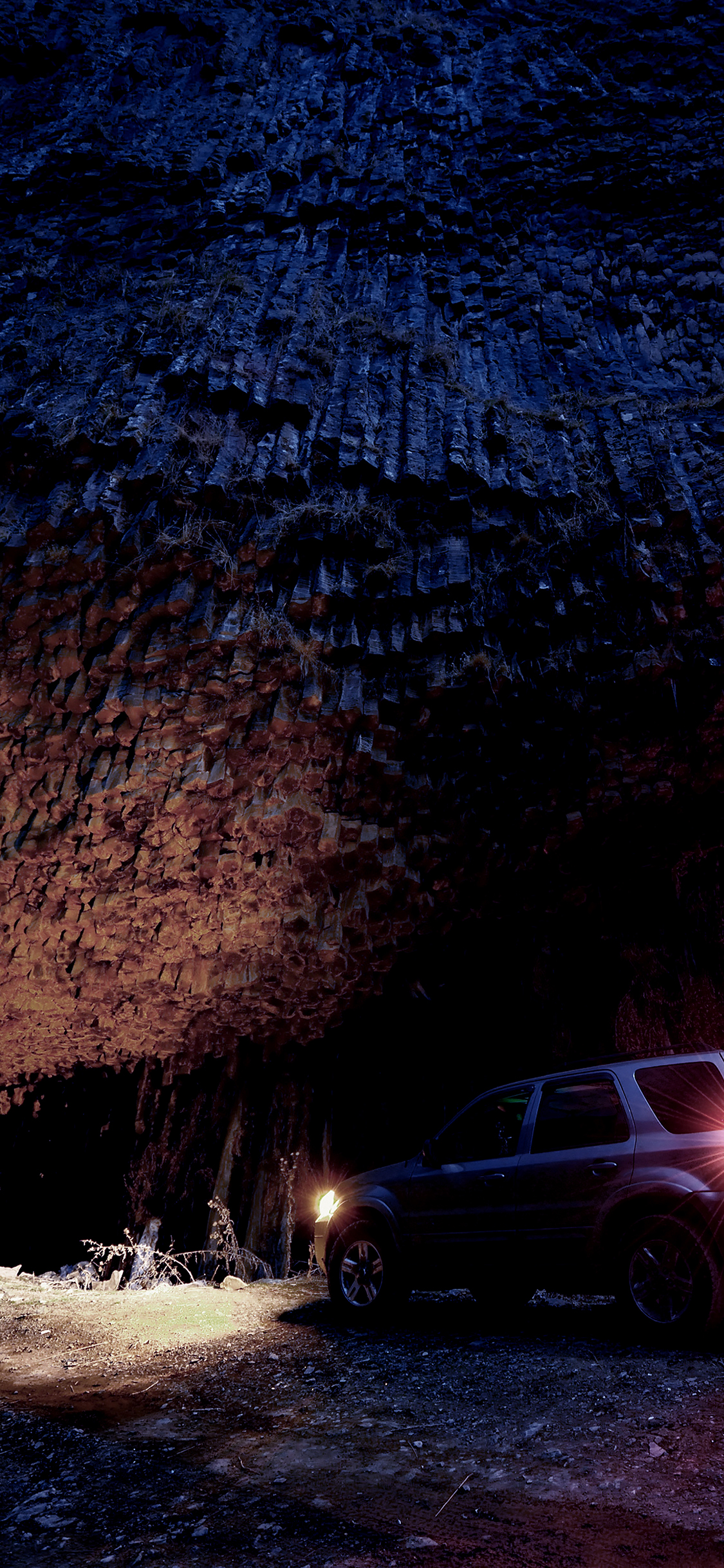 Mg70 Armenia Garni Late Night Wood Mountain With Car Nature