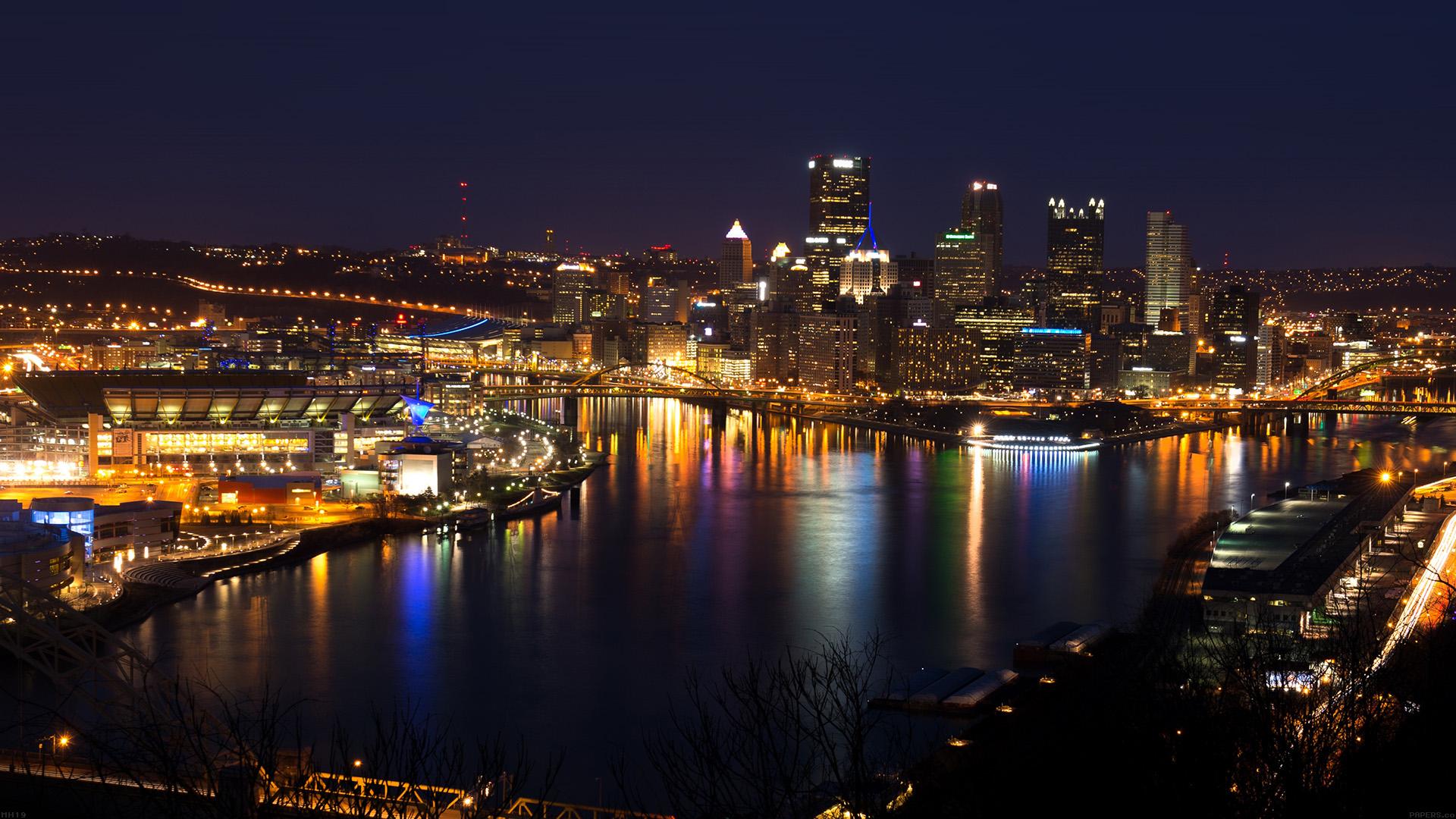Pittsburgh Desktop Wallpaper Skyline: Mh19-pittsburgh-skyline-night-cityview-nature