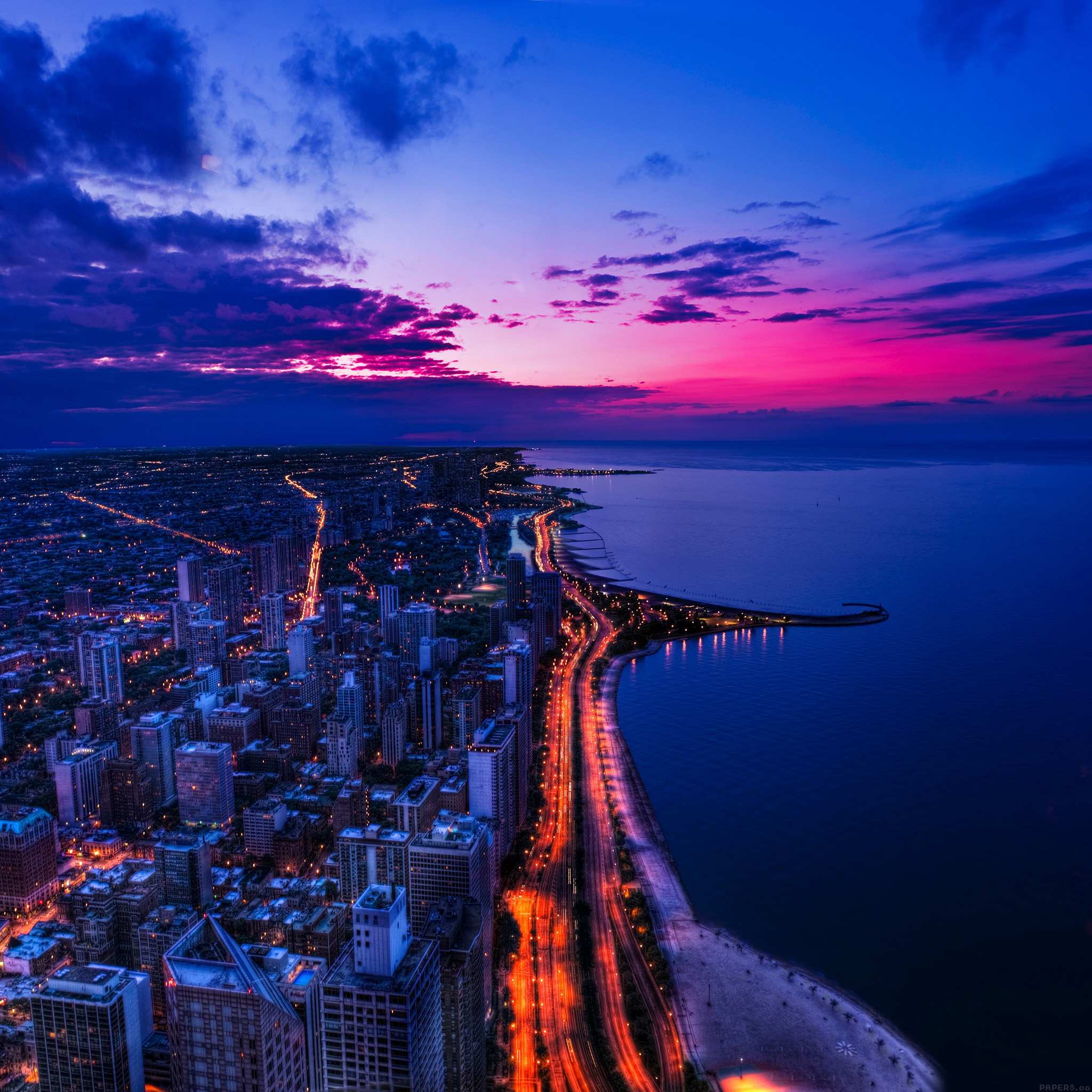 Iphone Wallpaper: Mh45-chicago-city-night-sky-view-scape-ocean-beach