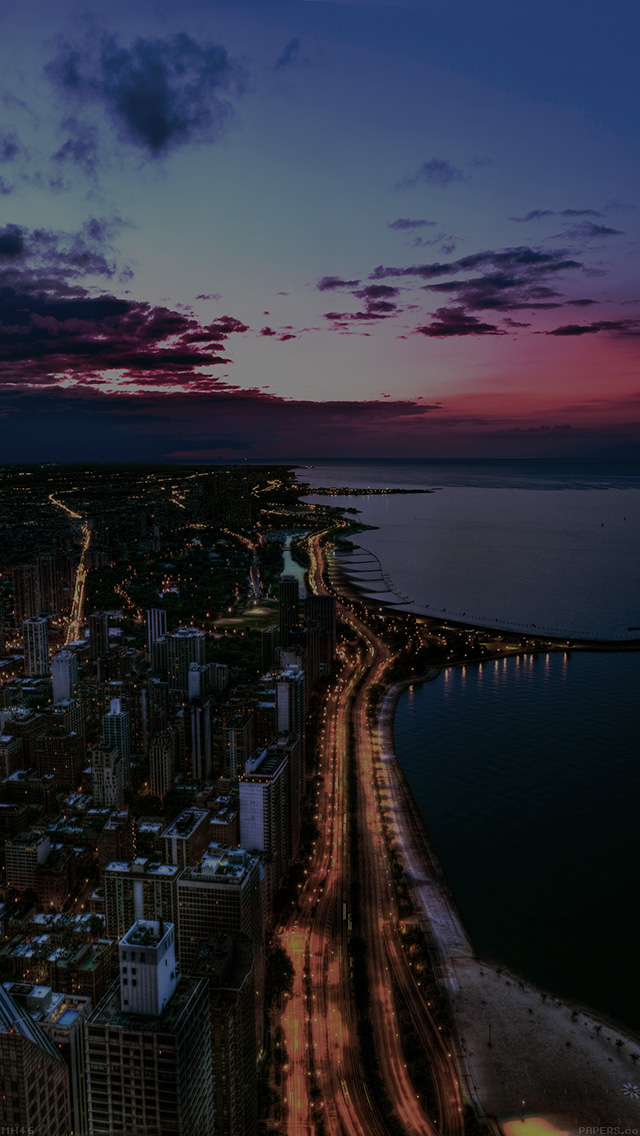 Iphonepapers Mh46 Chicago City Night Sky View Scape Dark
