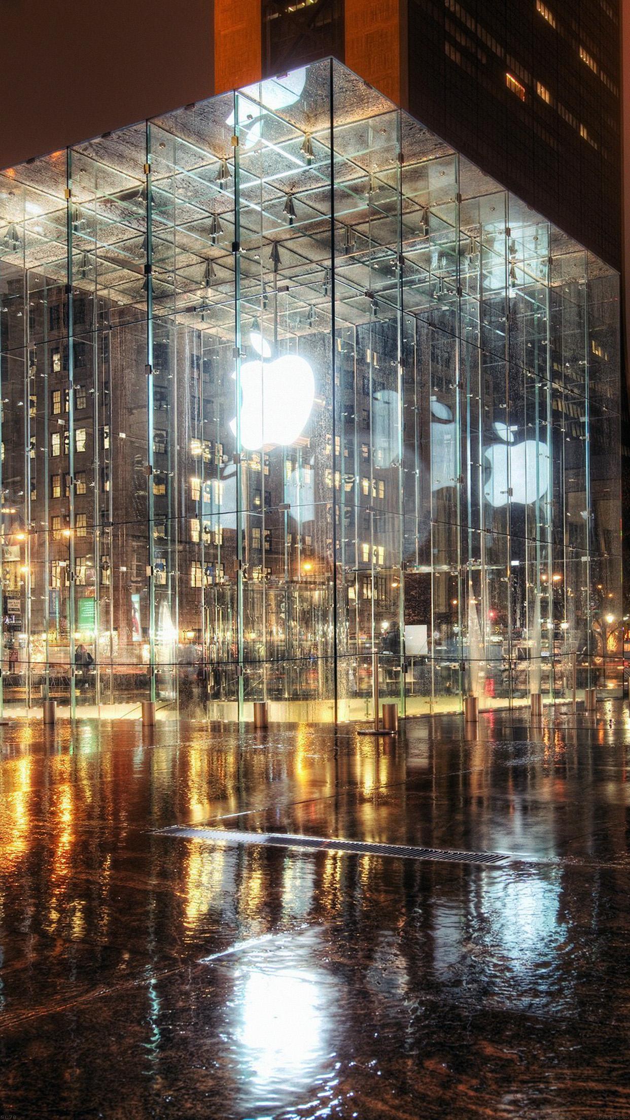 Iphone7papers Mh73 Raining Apple Store Newyork