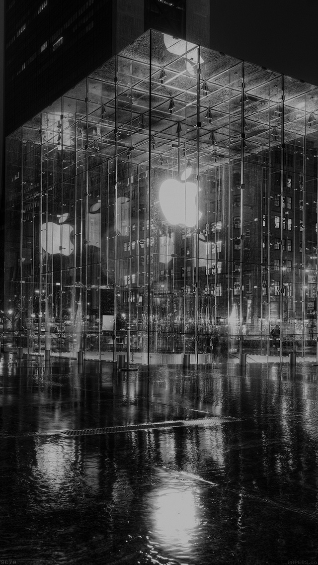 freeios8.com-iphone-4-5-6-plus-ipad-ios8-mh74-raining-apple-store-newyork-at-night-dark