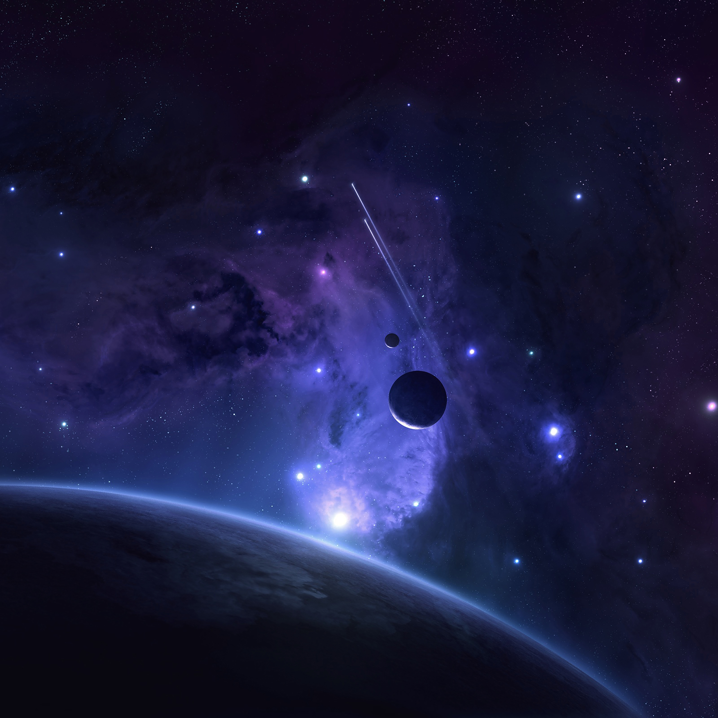 Mj44 Planets Space Abstract Blue Art Wallpaper