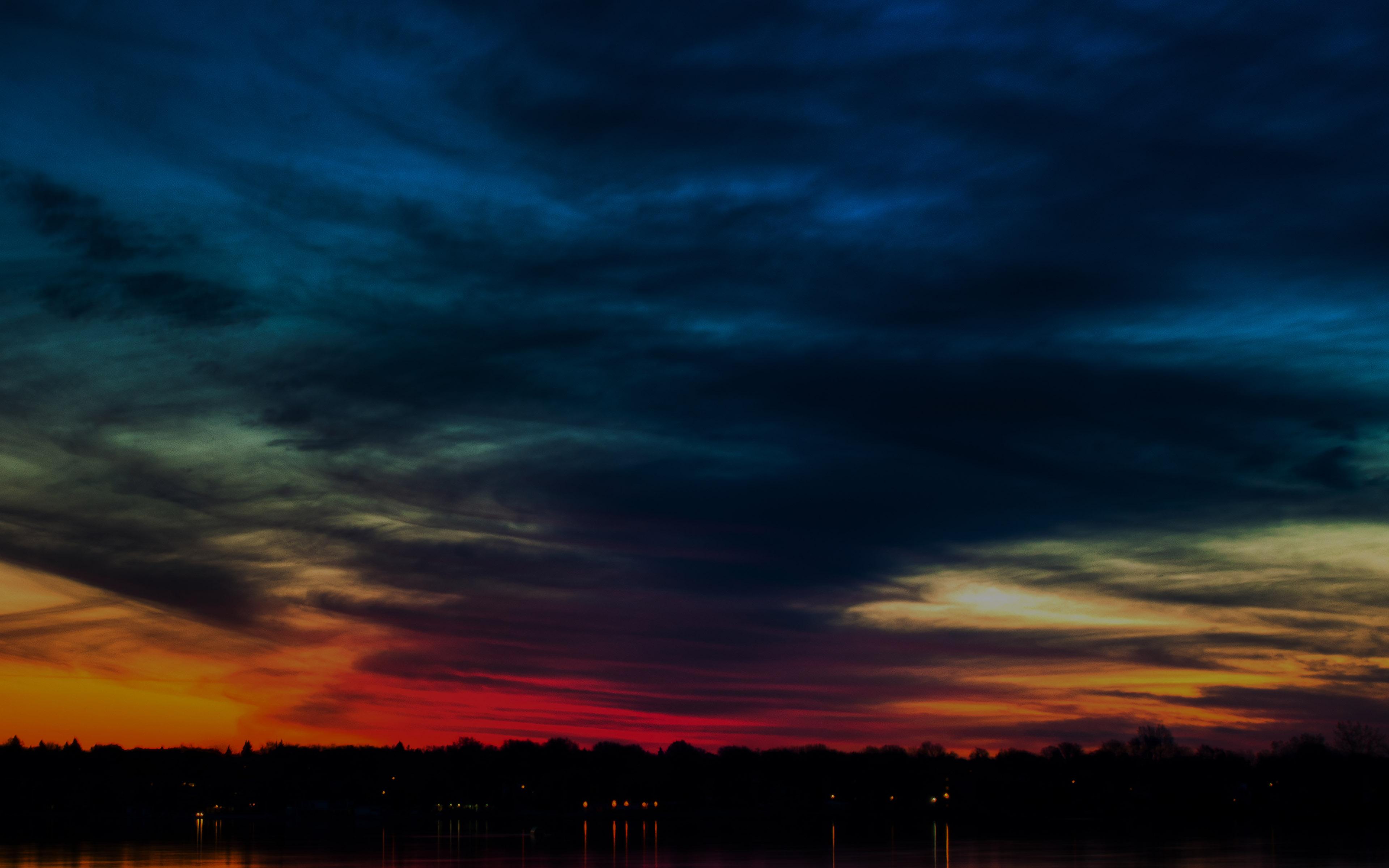 Mj80 Rainbow In The Sky Dark Lake Sea Nature Wallpaper