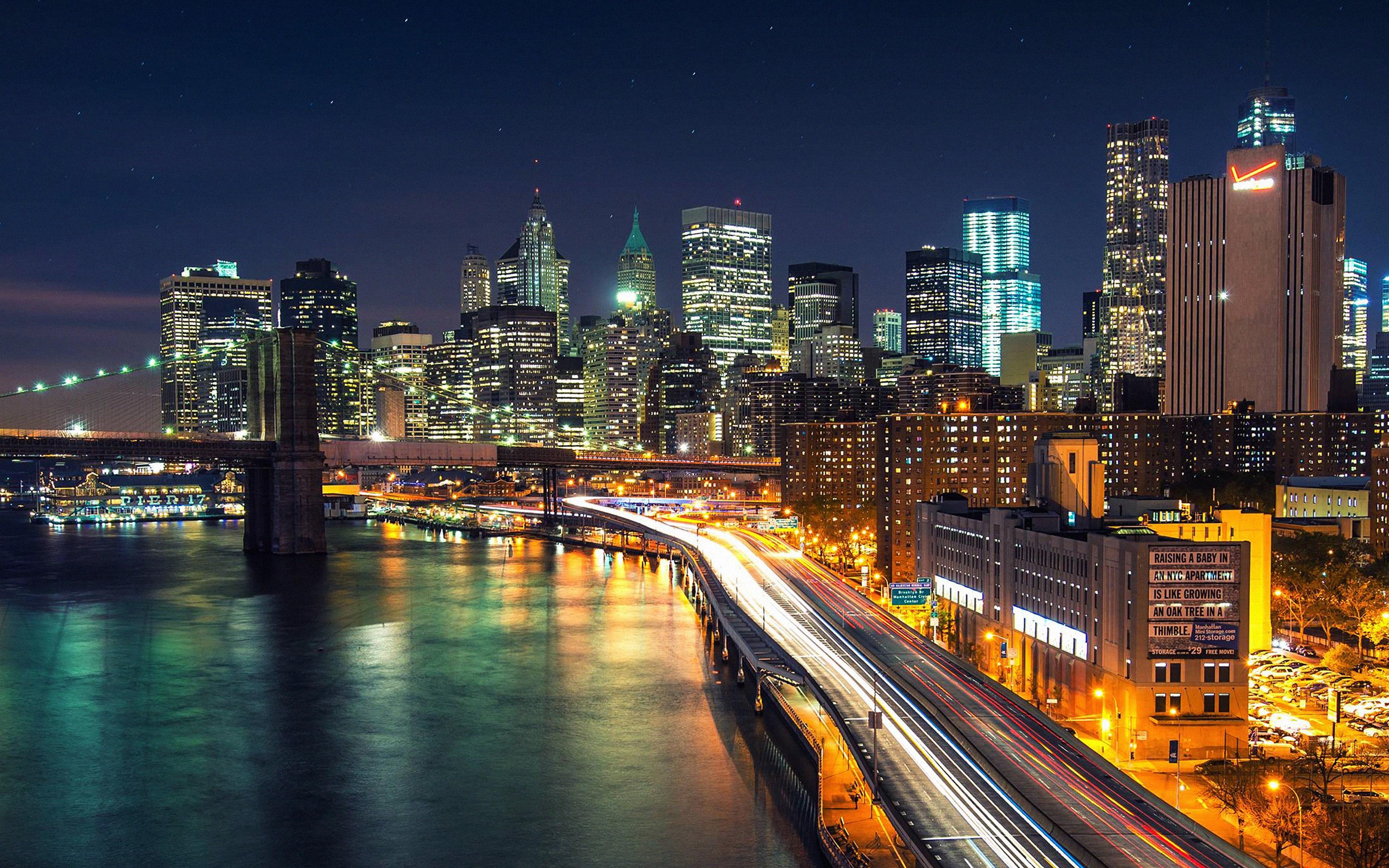 Mk03 Night City View Lights Bridge Nature Papers Co