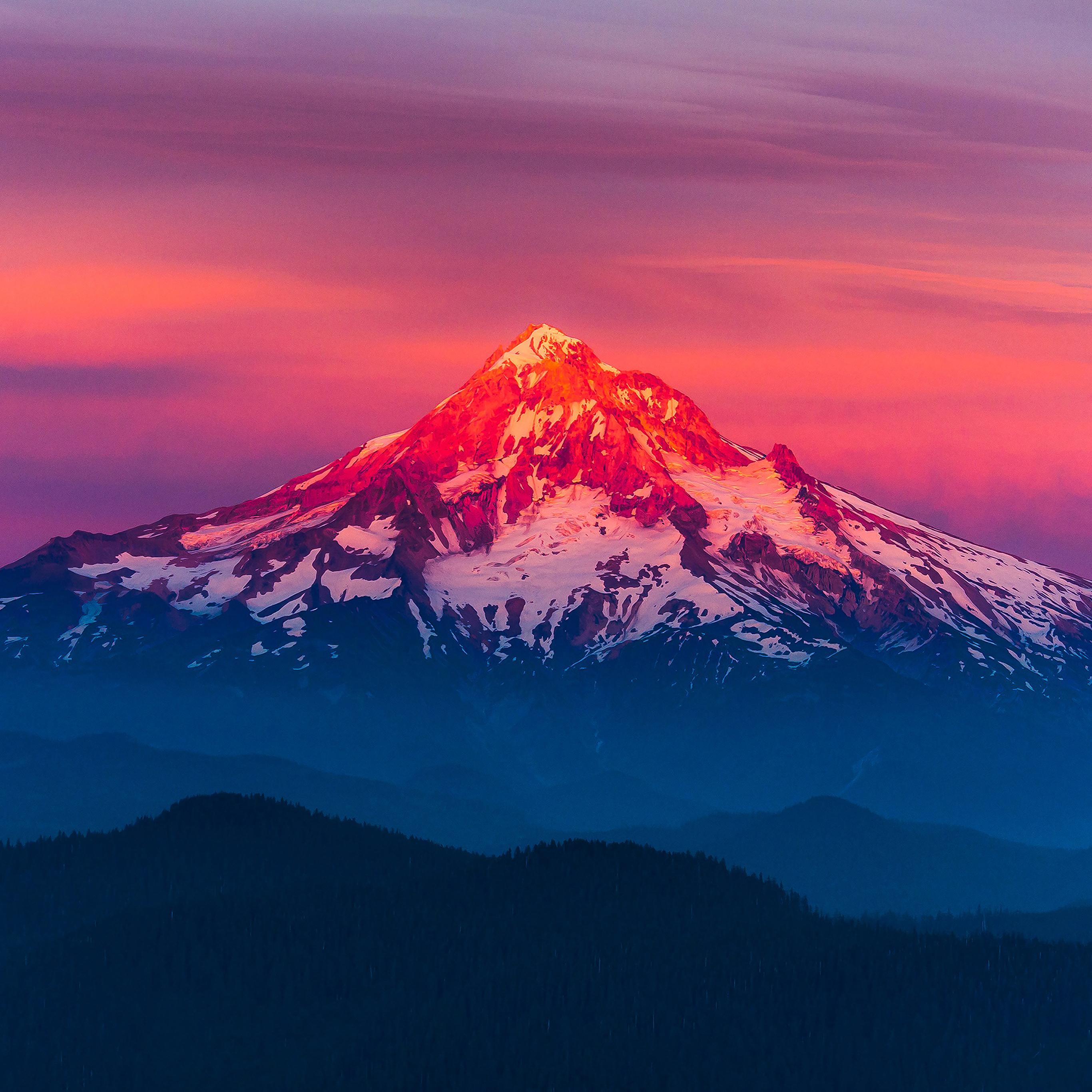 Mk11 Purple Sunset Snow Mountain Nature Wallpaper