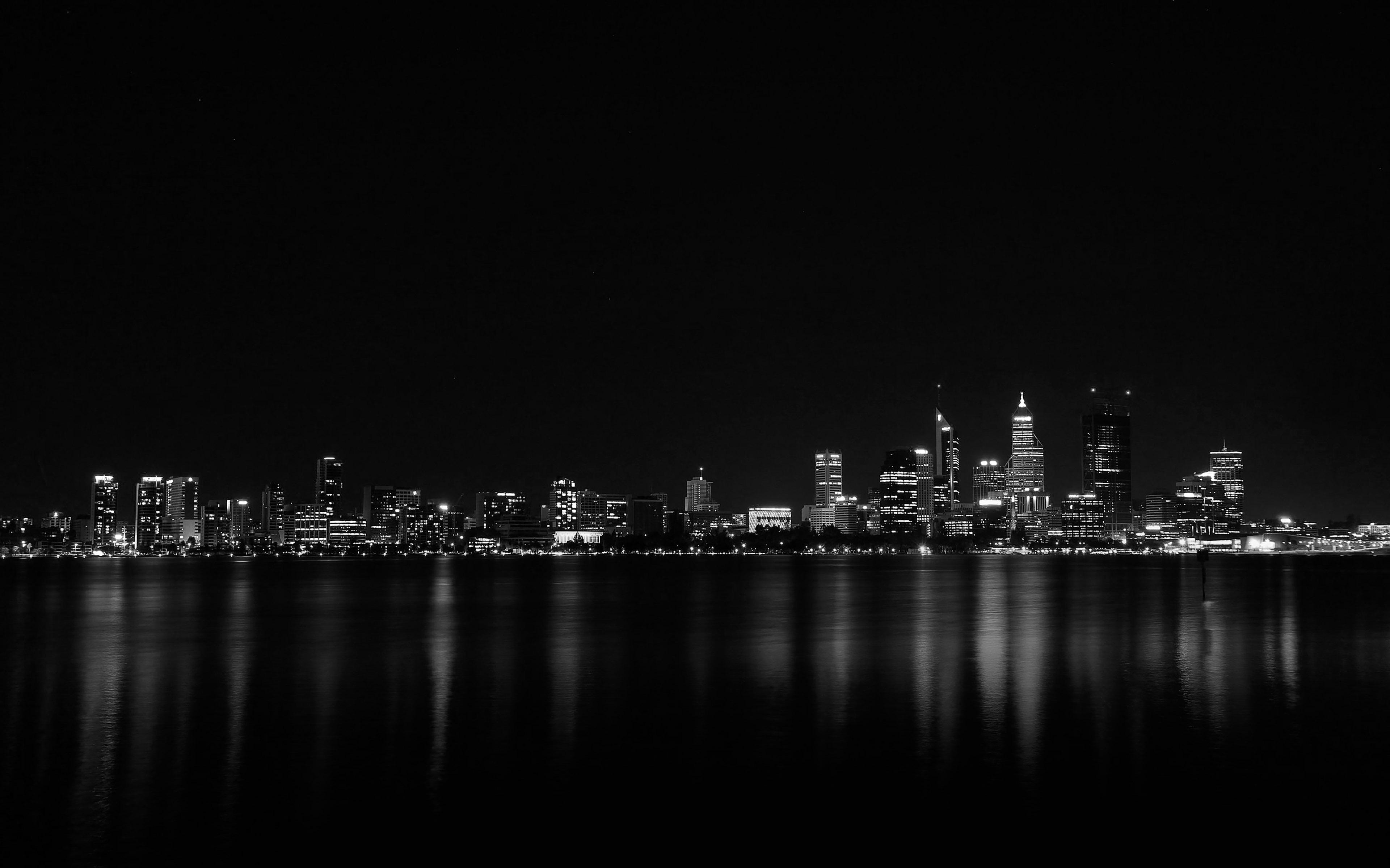 Mk52 City Night Dark Skyline Architecture River Wallpaper