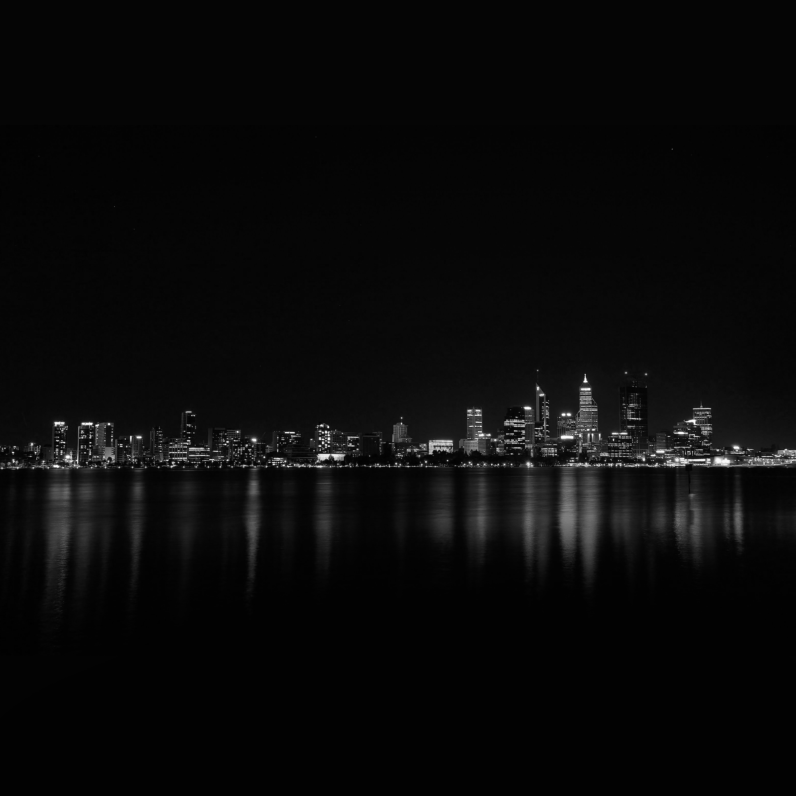 papers.co mk52 city night dark skyline architecture river 40 wallpaper