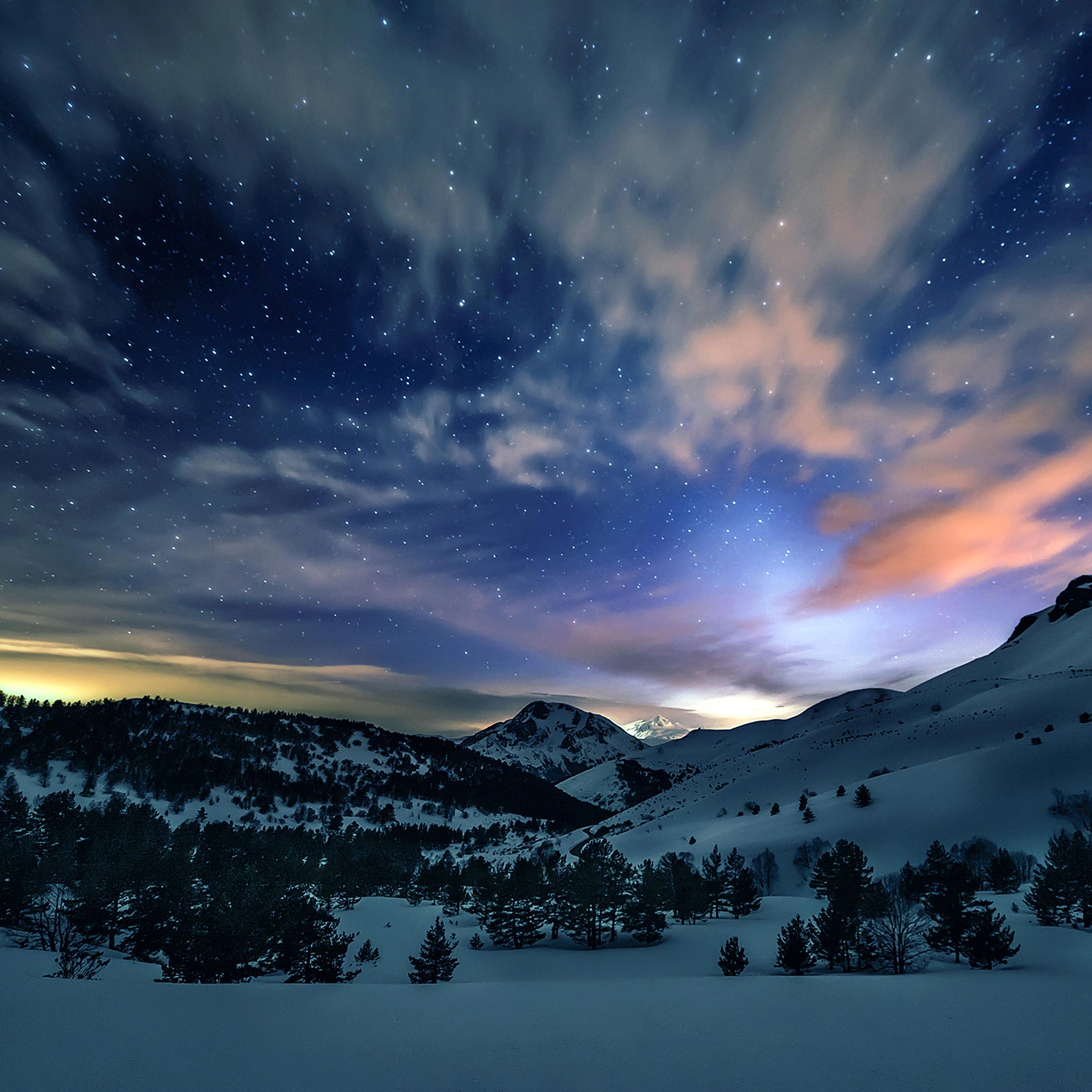 Mk78-aurora-star-sky-snow-mountain-winter-nature
