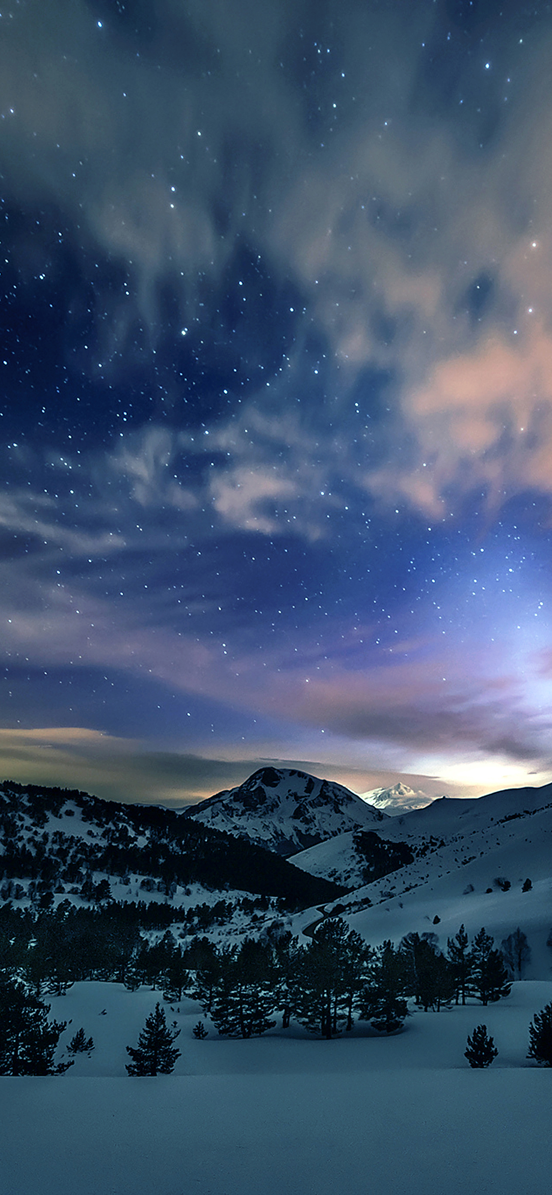 iPhoneXpapers.com-Apple-iPhone-wallpaper-mk78-aurora-star-sky-snow-mountain-winter-nature