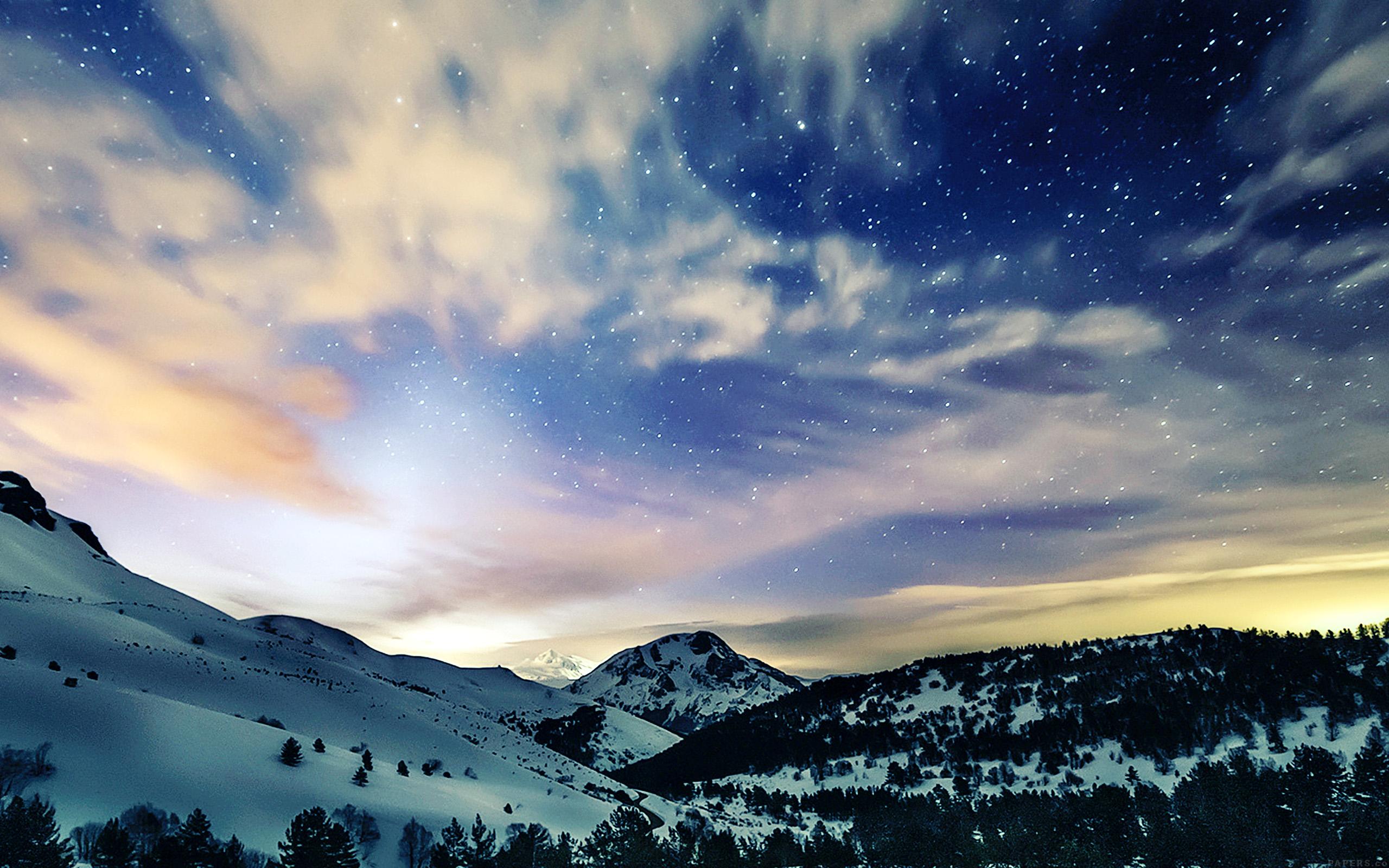 mk79-aurora-star-sky-snow-night-mountain-winter-nature ...