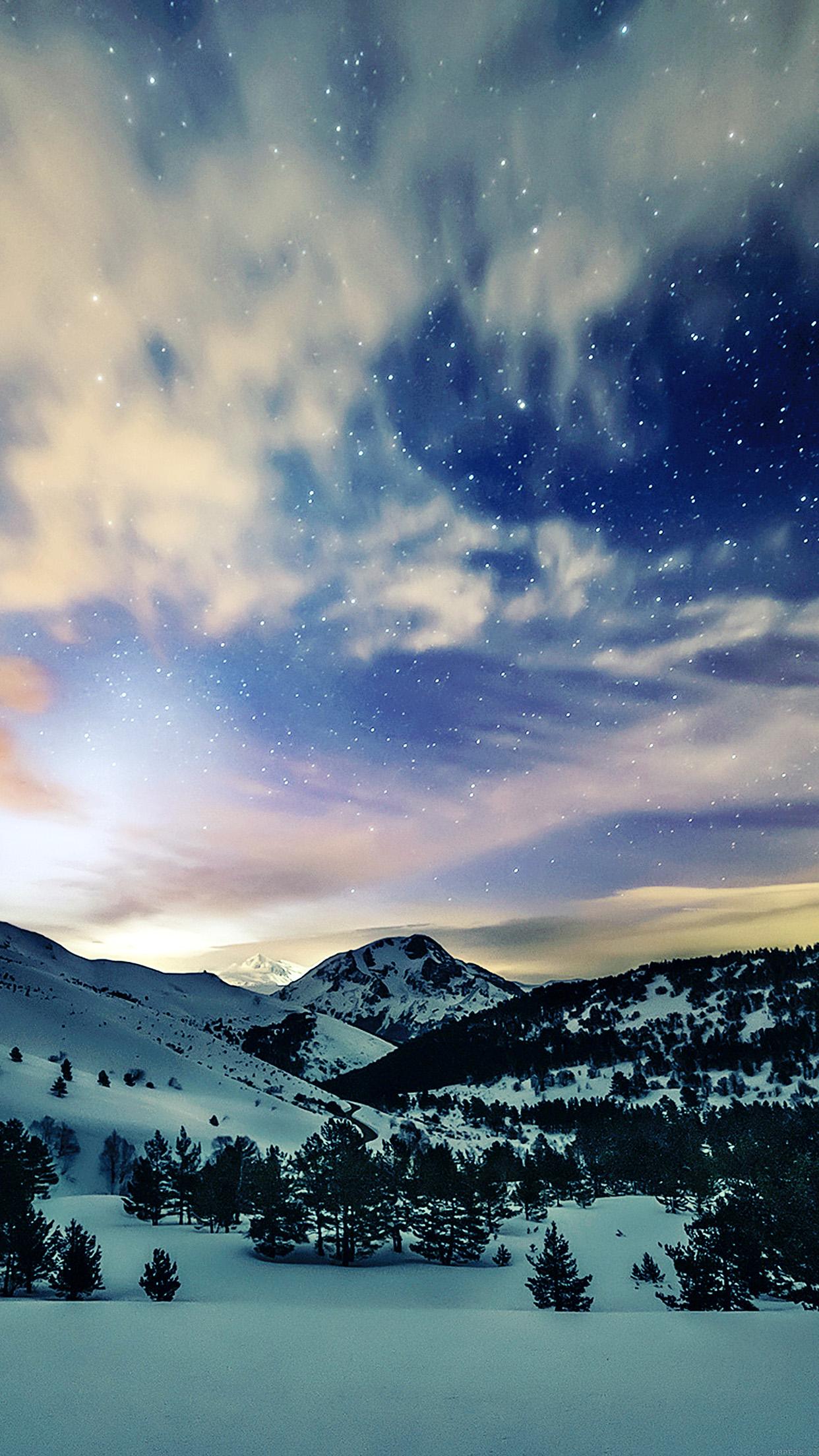 Mk79 Aurora Star Sky Snow Night Mountain Winter Nature