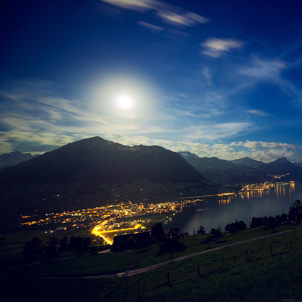 wallpaper-mk92-lake-mountain-blue-city-village-night-light-nature-wallpaper
