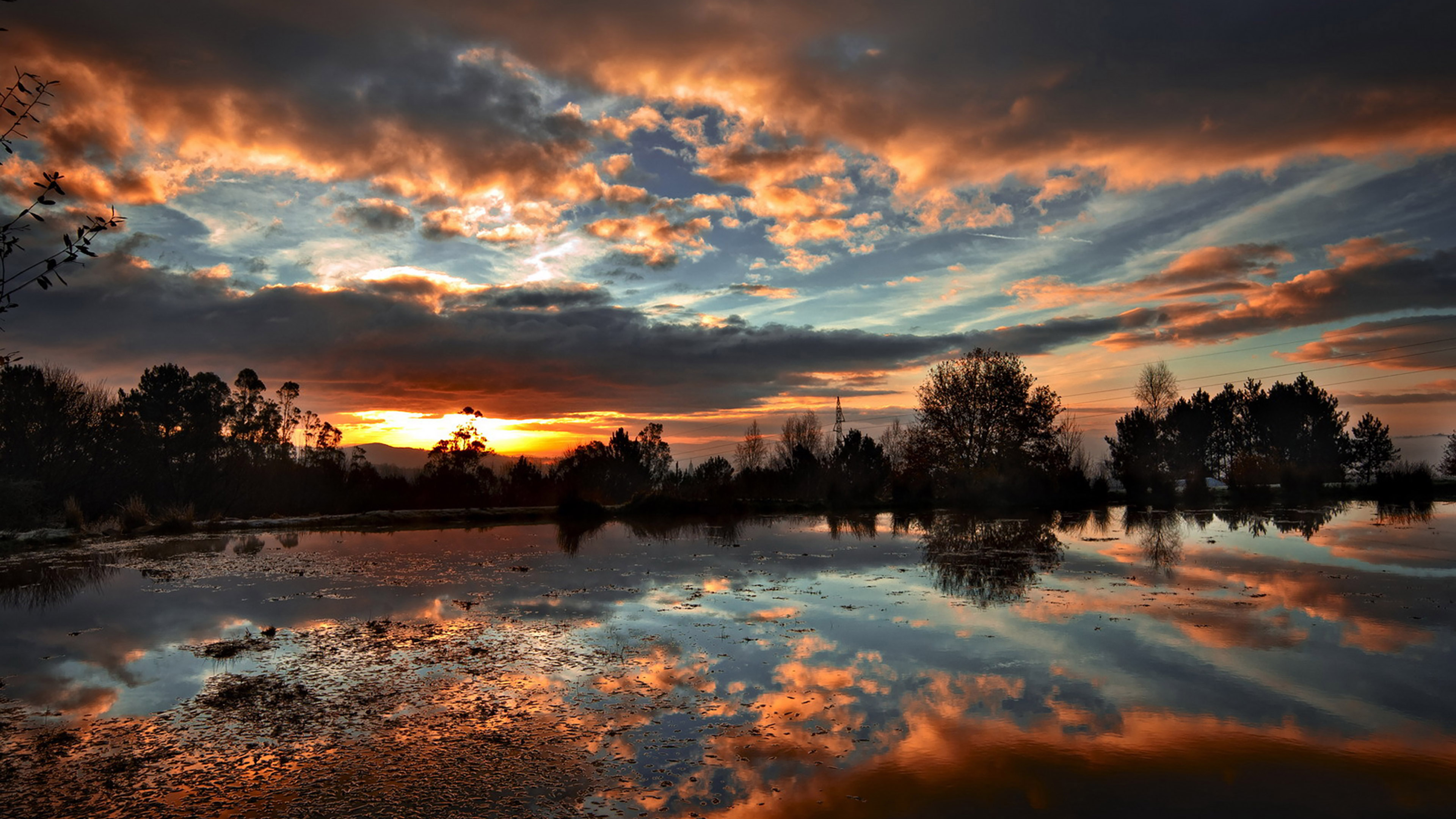 wallpaper for desktop, laptop | ml14-sunset-lake-night ...