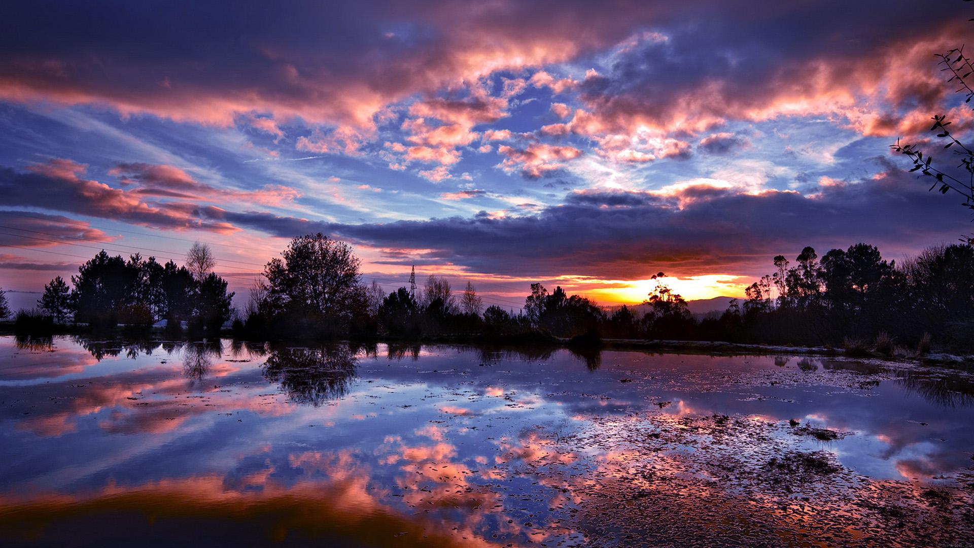 Ml15 sunset lake night blue dark nature - Nature wallpaper dark ...