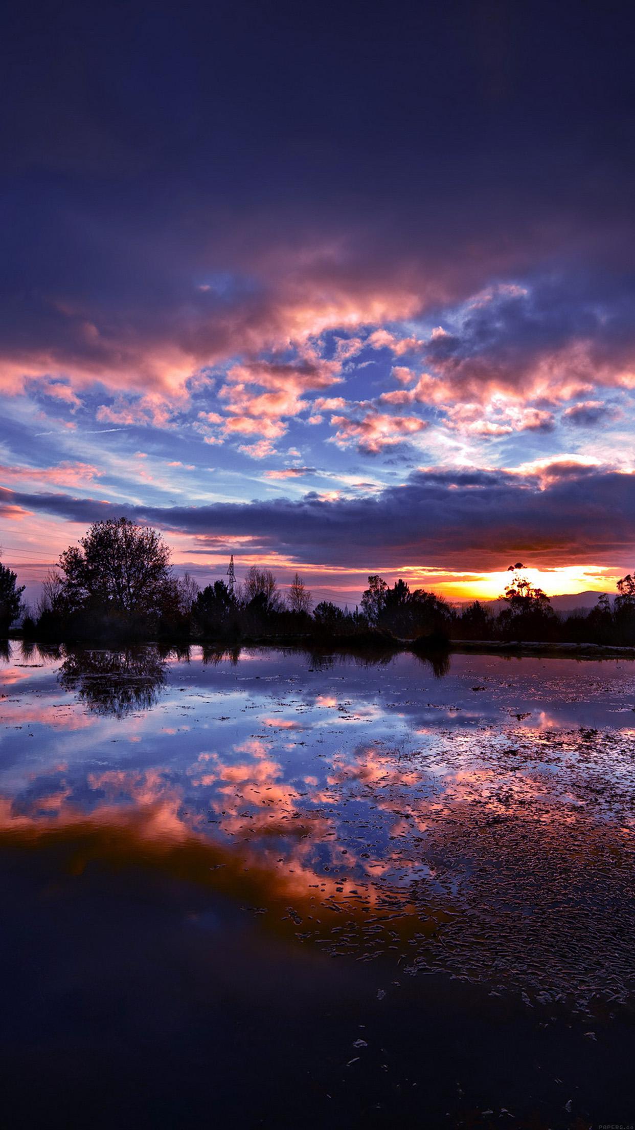 Iphone6papers Ml15 Sunset Lake Night Blue Dark Nature
