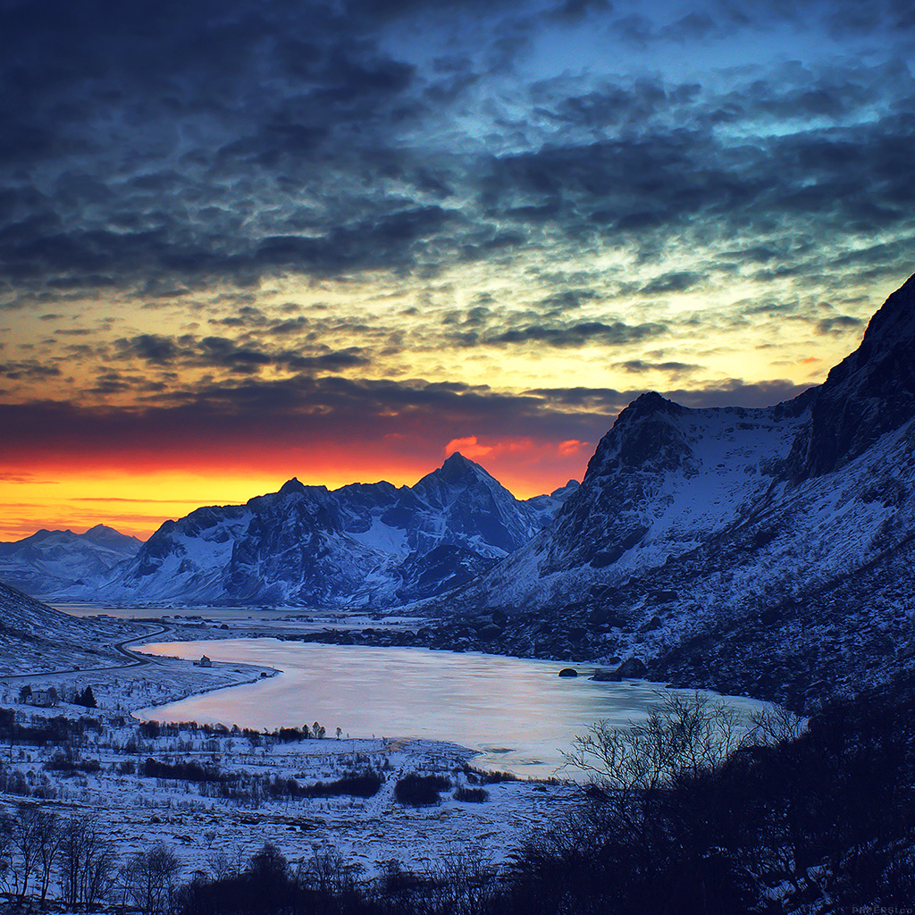 ml18-snow-lake-blue-night-mountain-cold-wallpaper