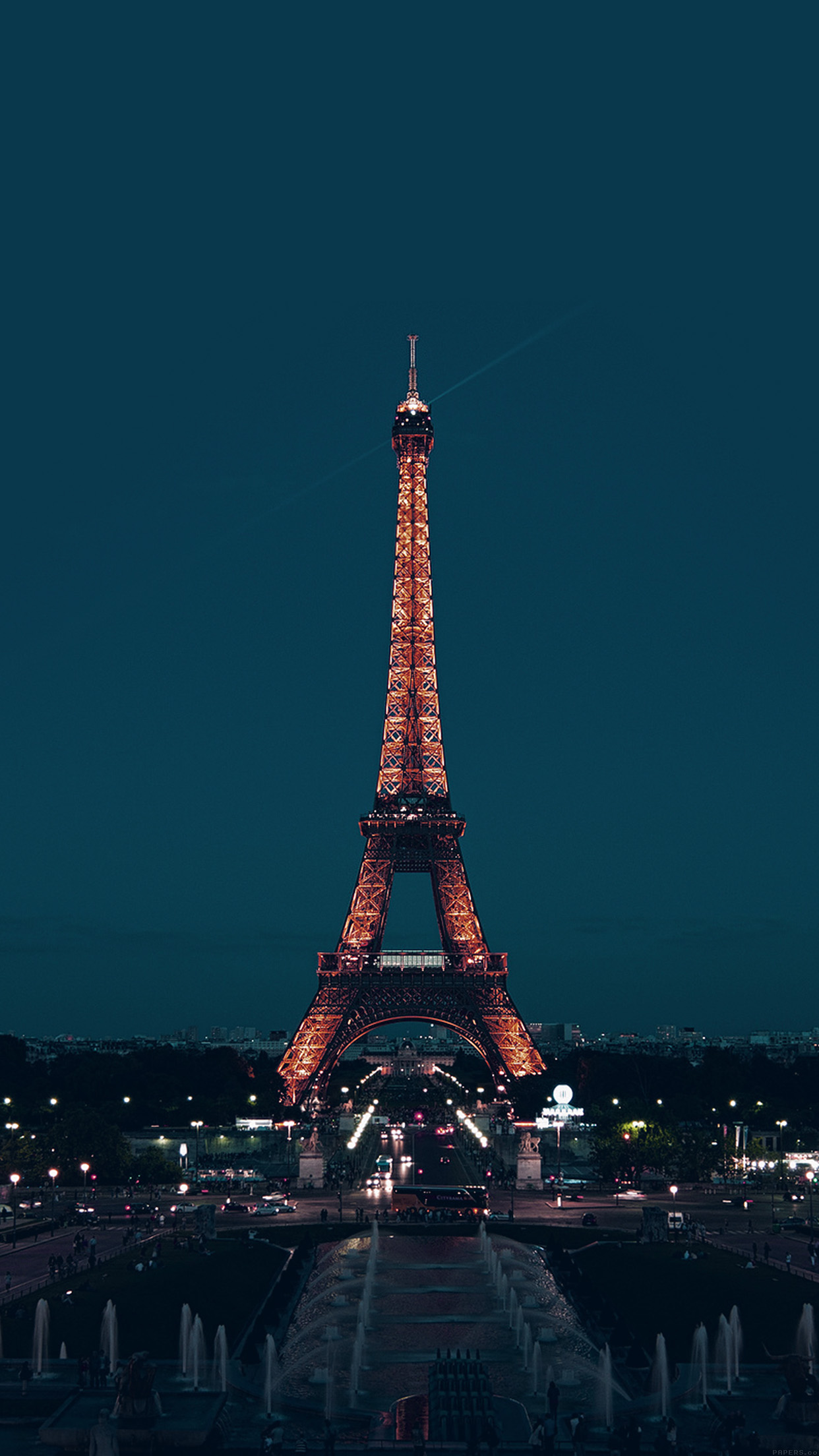 Ml78 Paris Night France City Blue Eiffel Tower Wallpaper