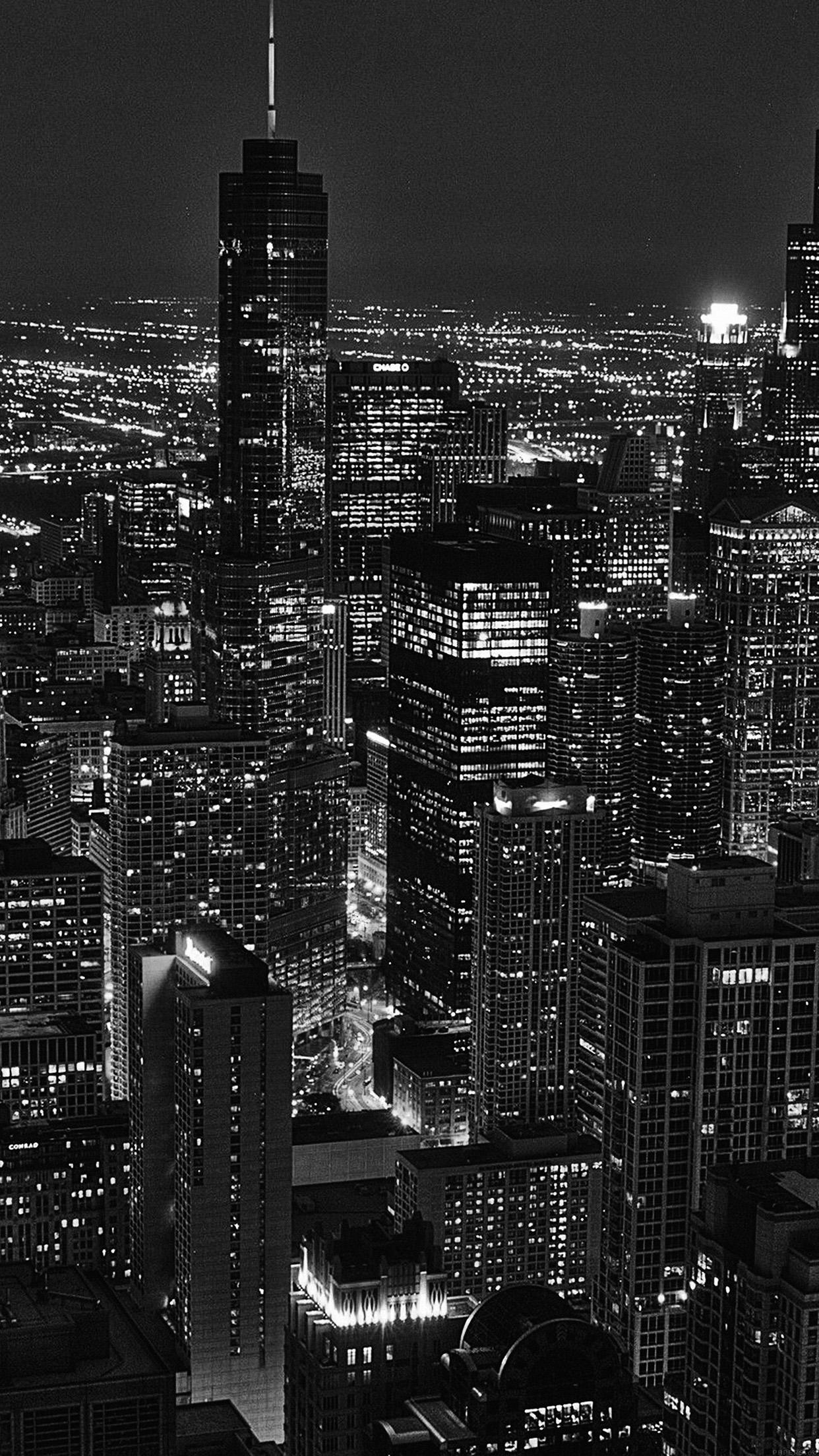Ml84 City View Night Dark Bw Wallpaper