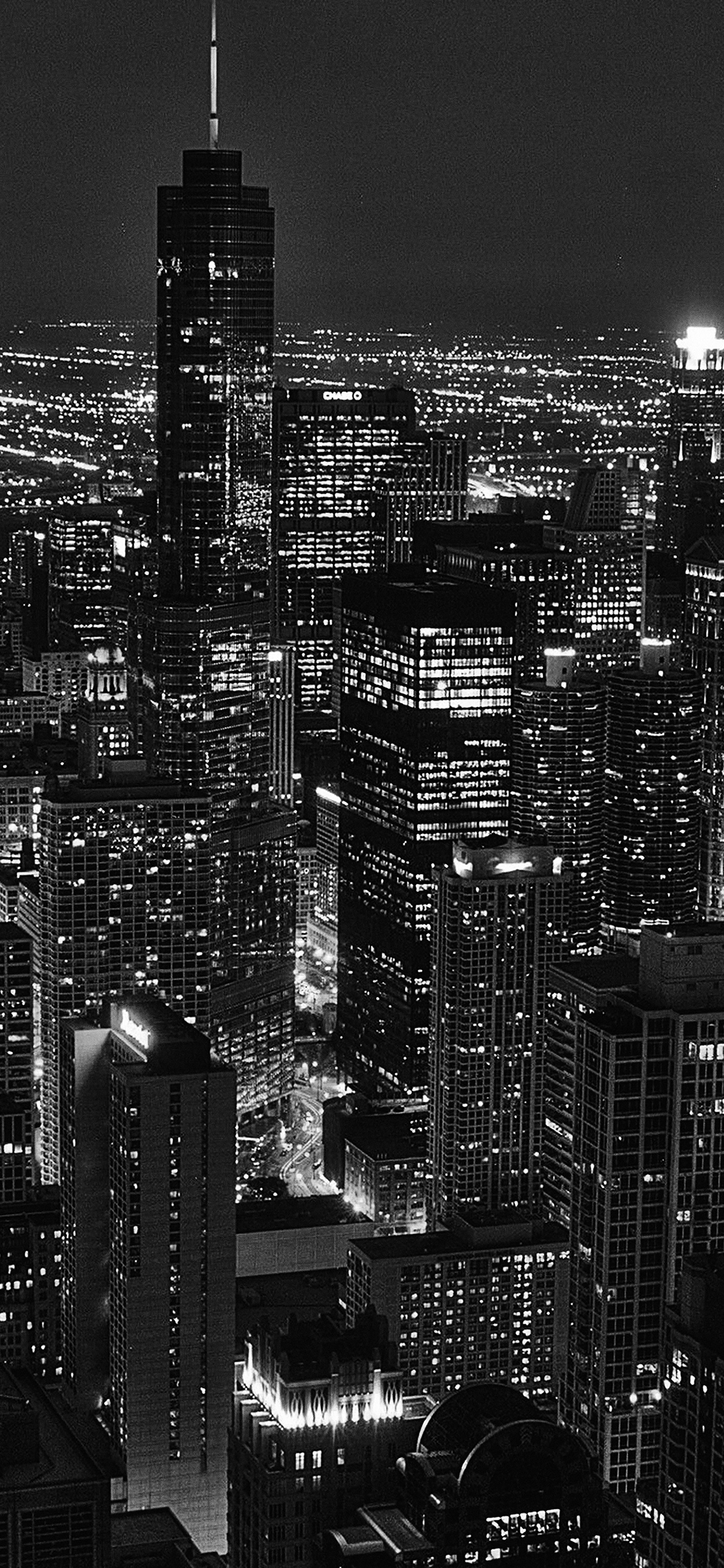 Ml84 City View Night Dark Bw