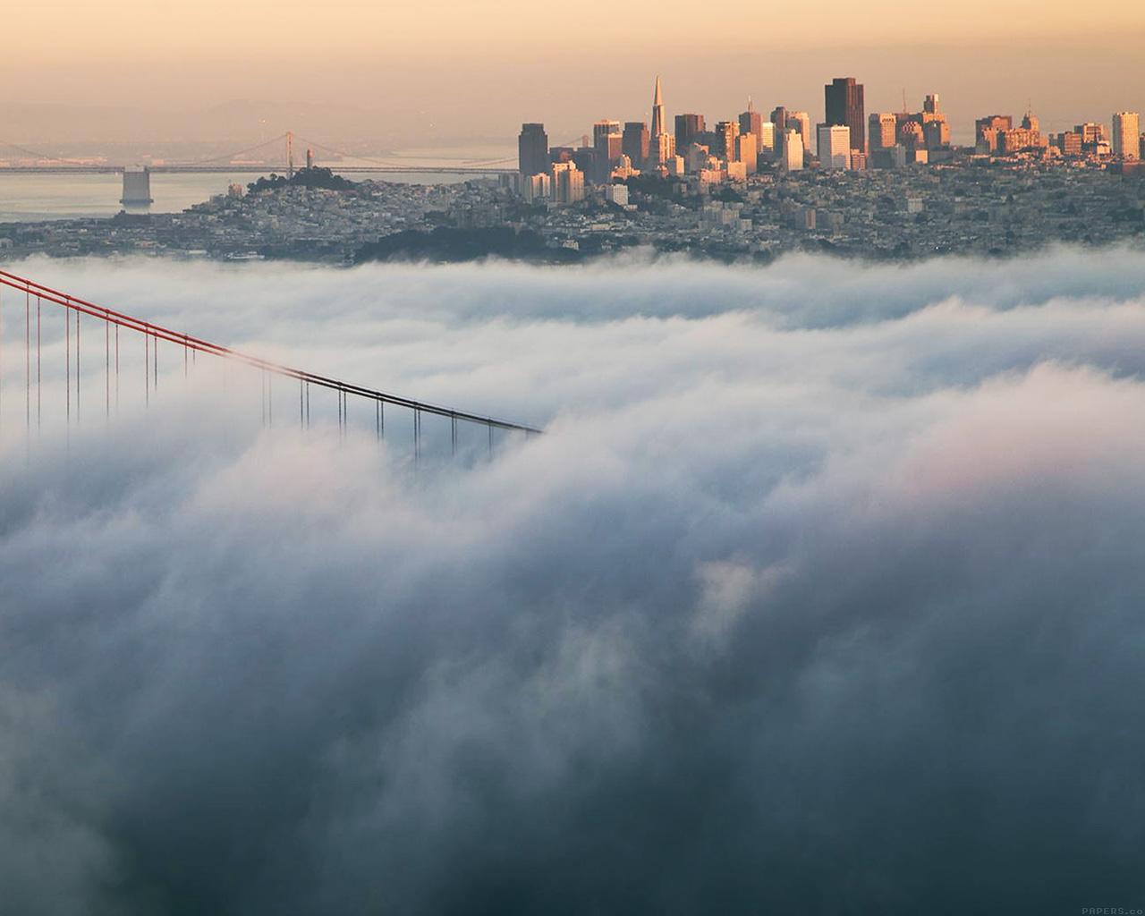 ml90-bridge-fog-city-river-peace-lake-nature-wallpaper