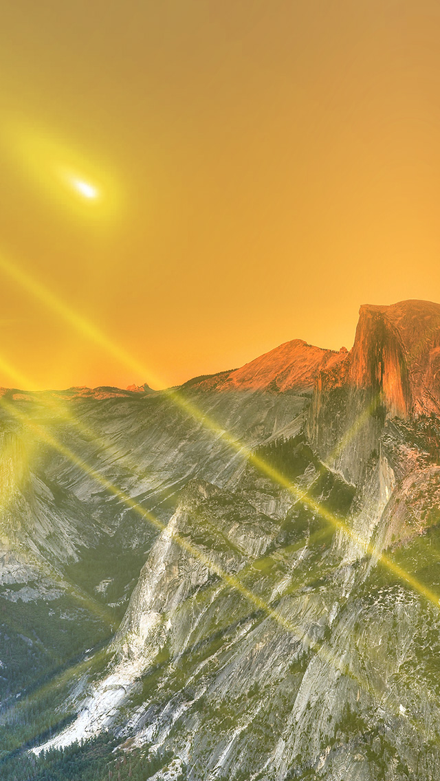 freeios8.com-iphone-4-5-6-plus-ipad-ios8-mm28-yosemite-mountain-art-yellow-flare-sky-nature