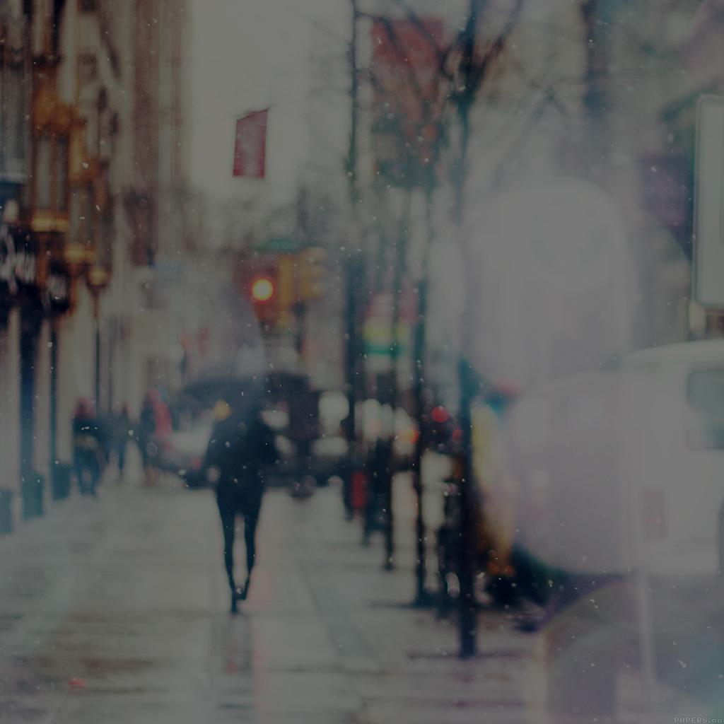 Android Wallpaper Mn28 Snow Street Bokeh Dark Winter