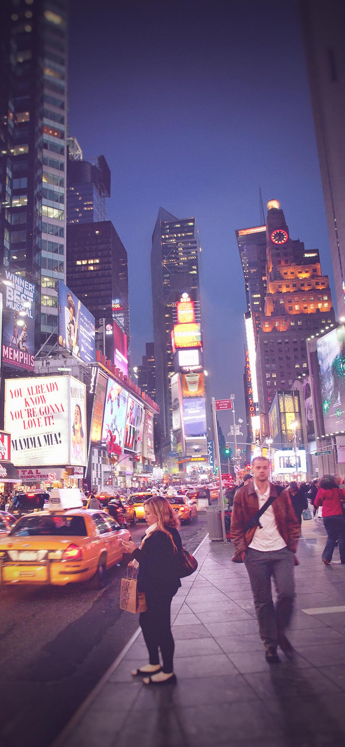 Mn65 New York Street Night City Vignette Wallpaper