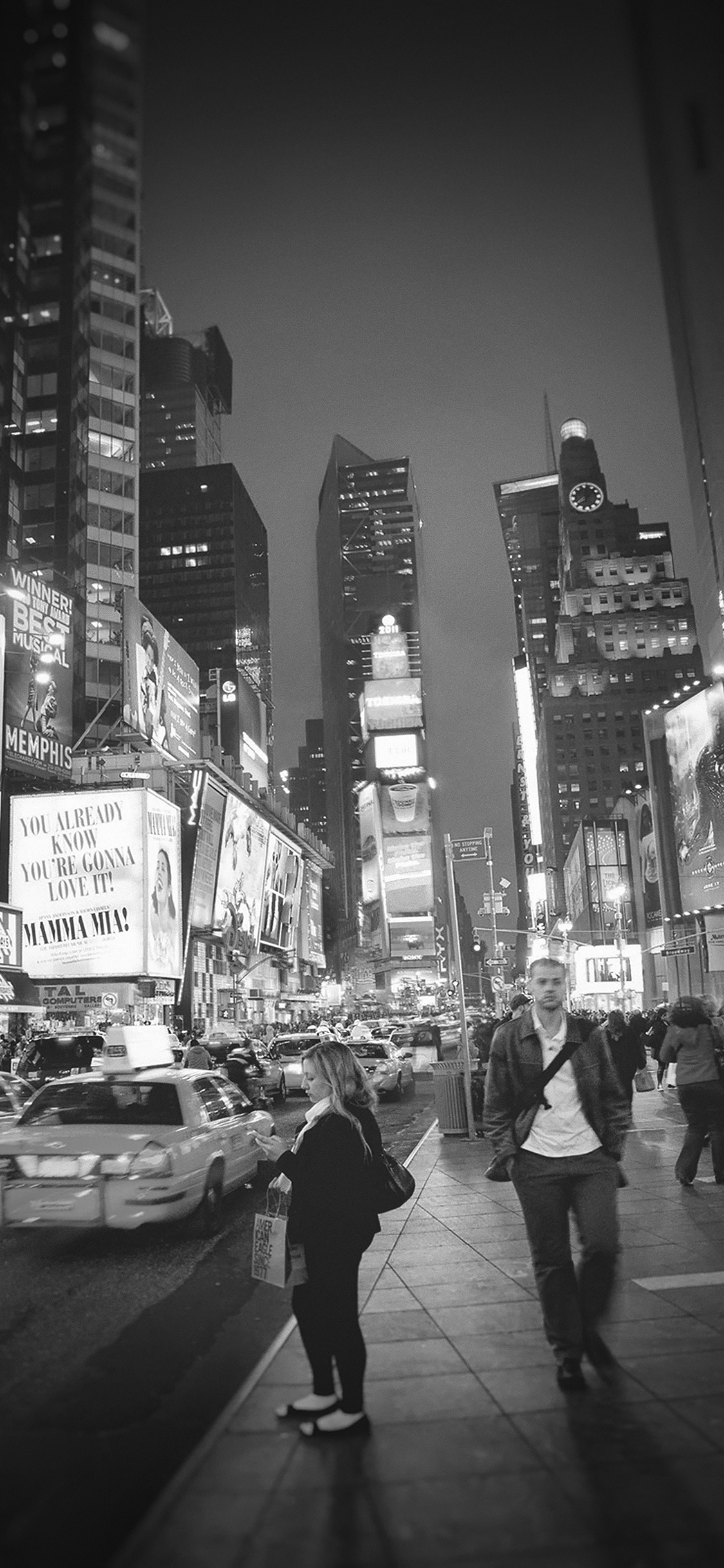 Mn66 New York Street Night City Dark Bw Vignette Papers Co